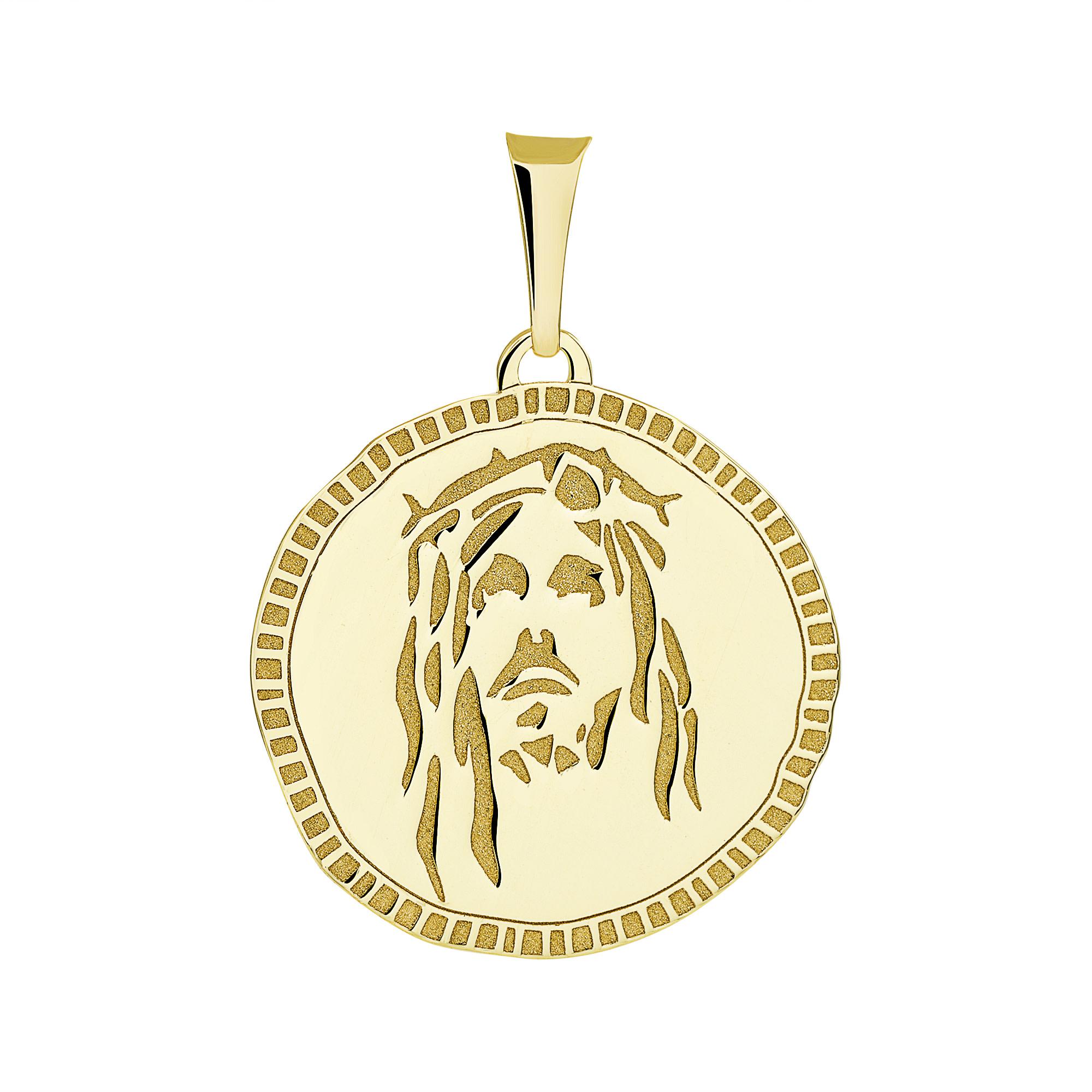 14k Gold Jesus Christ Head Pendant