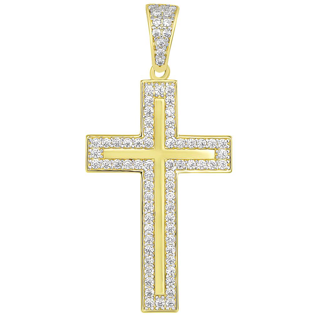 14k Yellow Gold Elegant Traditional Latin Cross Pendant with Cubic Zirconia