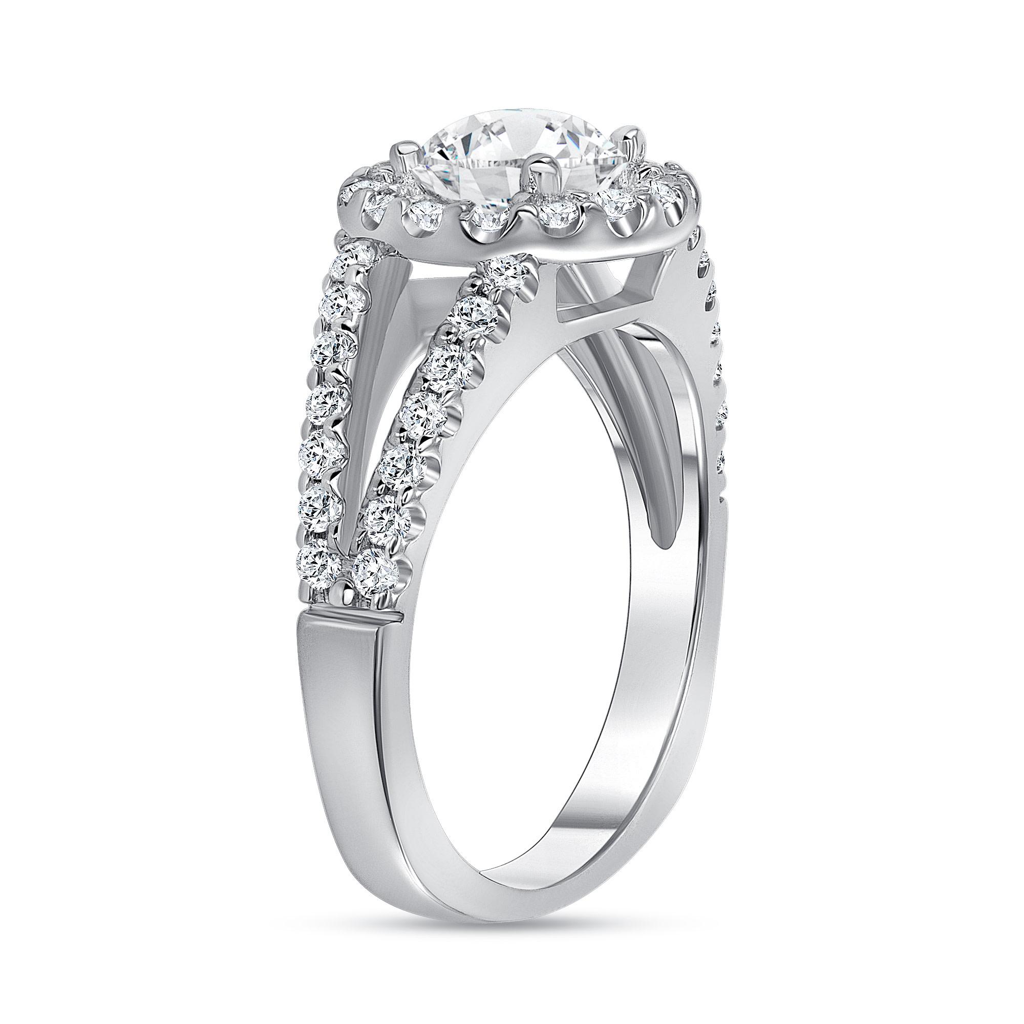 1.5 carat round halo engagement ring white gold