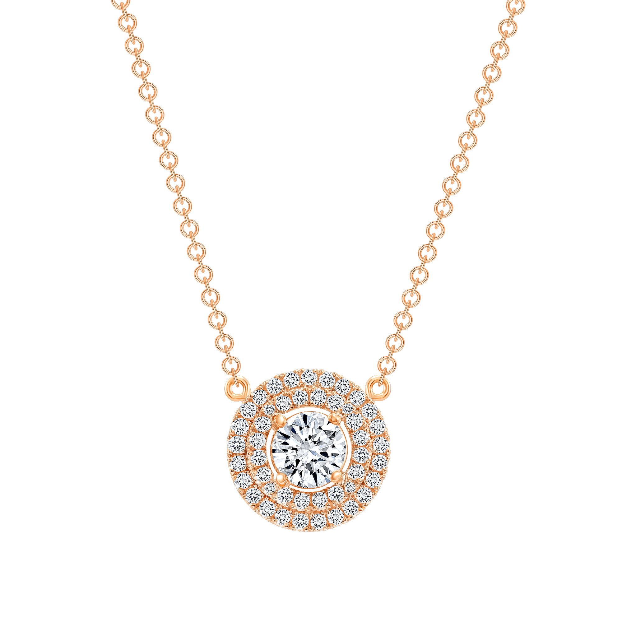 double halo diamond necklace