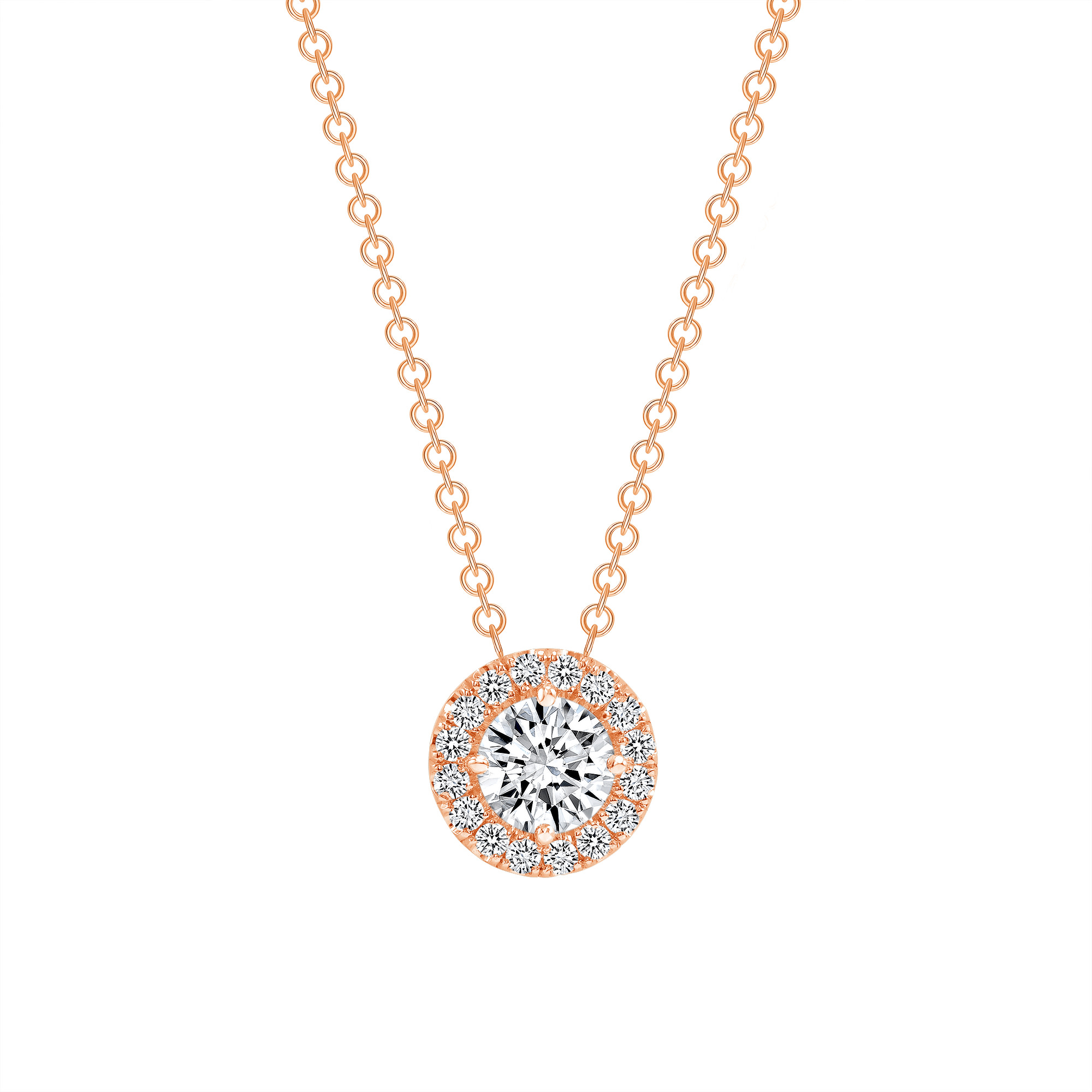 diamond double halo pendant necklace 1ct rose gold