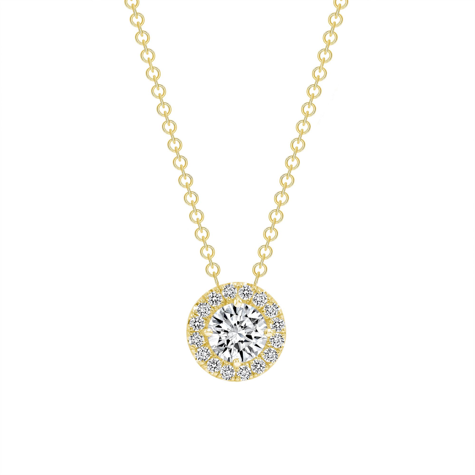 diamond double halo pendant necklace 1ct gold