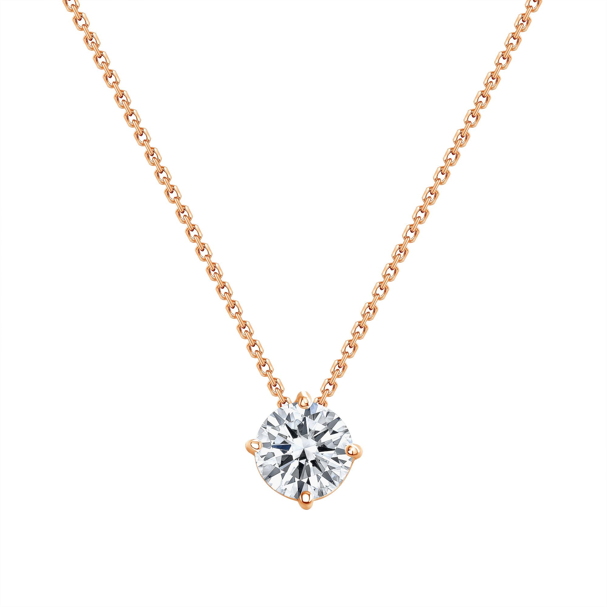 solitaire diamond necklace   round diamond necklace