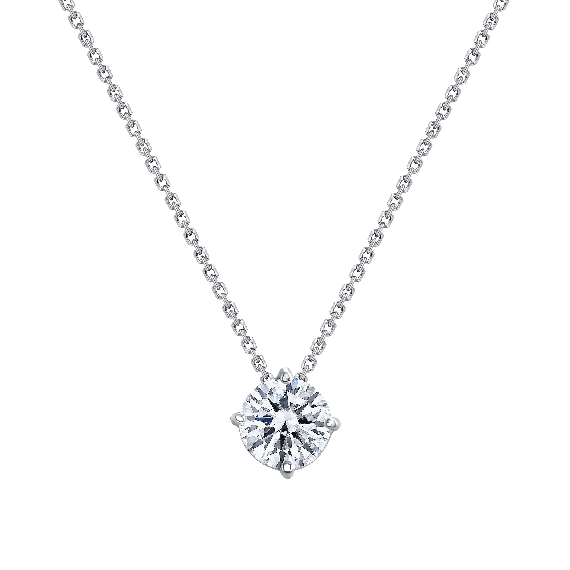 solitaire diamond necklace white gold