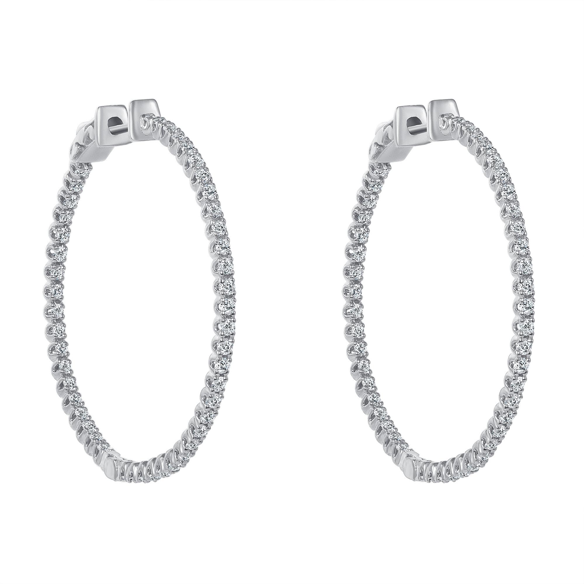inside out diamond hoop earrings white gold