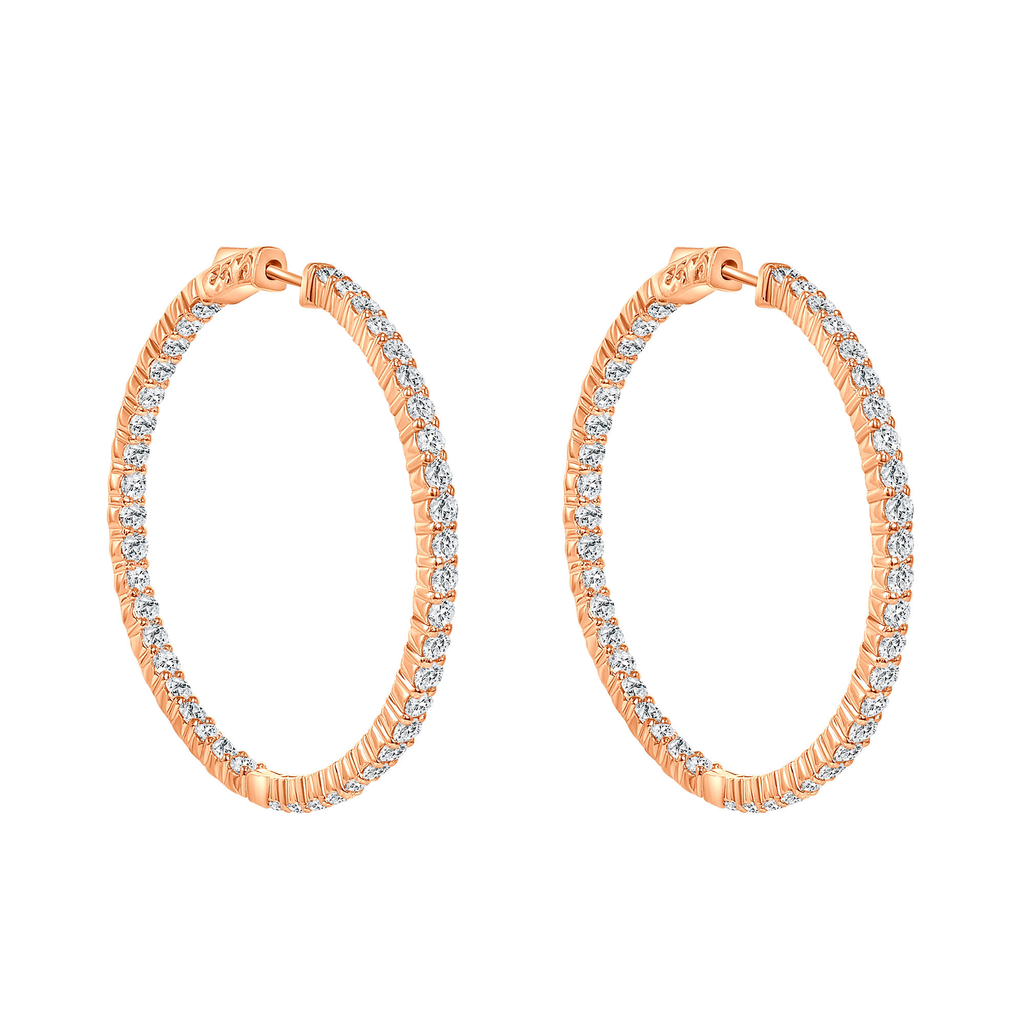 14k yellow gold diamond hoop earrings | 14k gold hoop earrings
