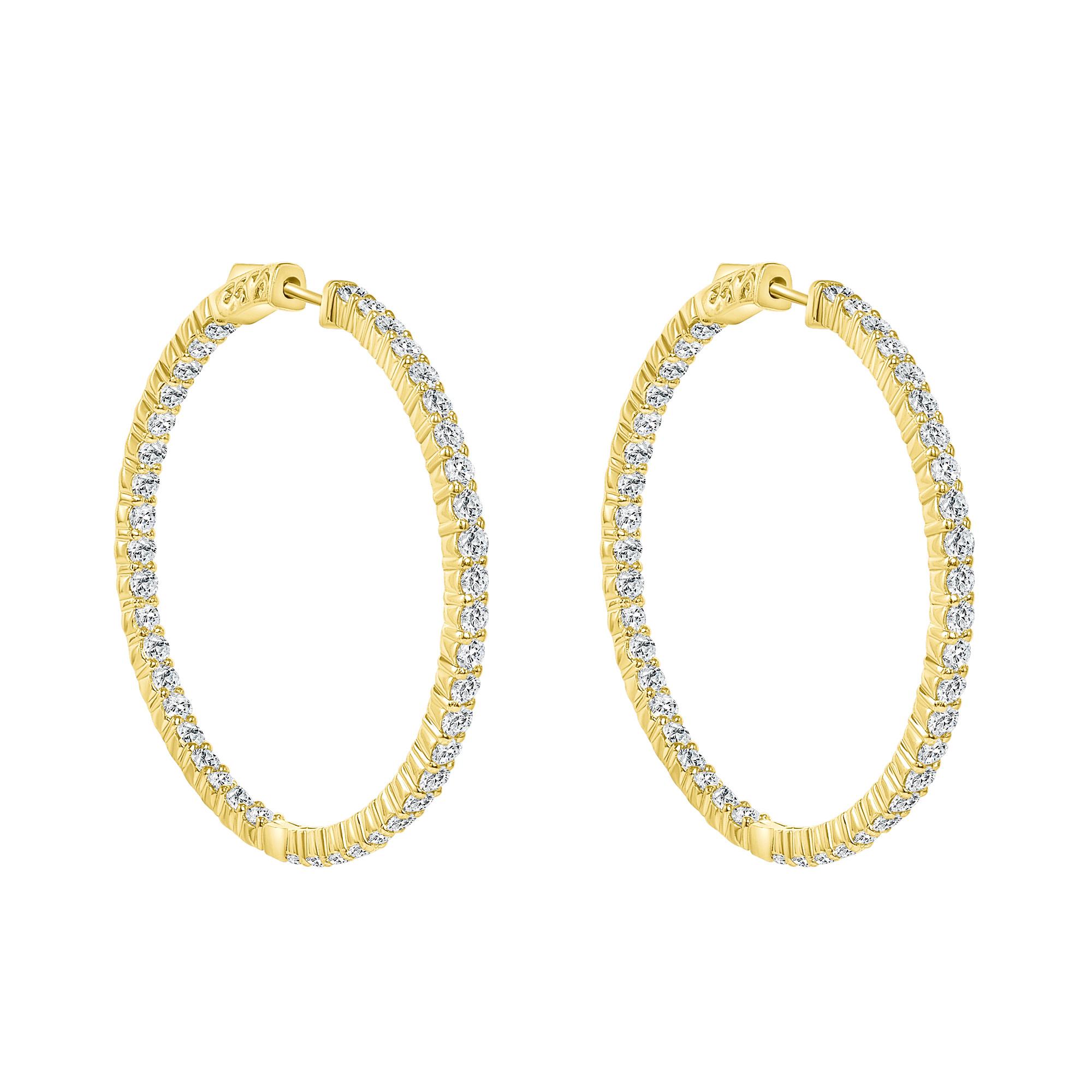 diamond accent earrings 14k gold hoops | 14k gold hoop earrings