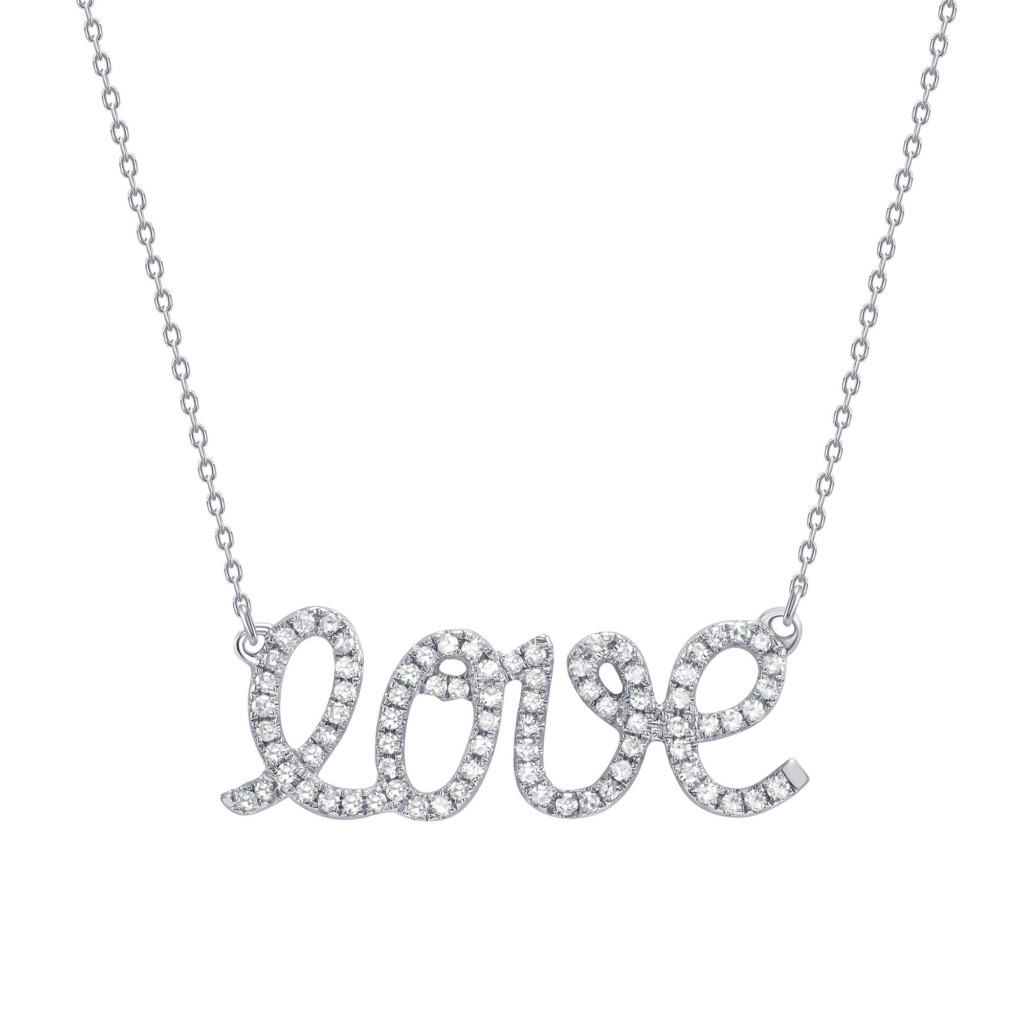 Diamond love pendant necklace  white gold