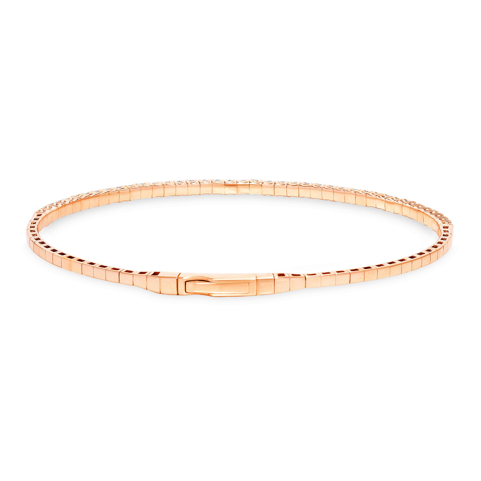 18k Gold & Round Diamond Flexible Bangle