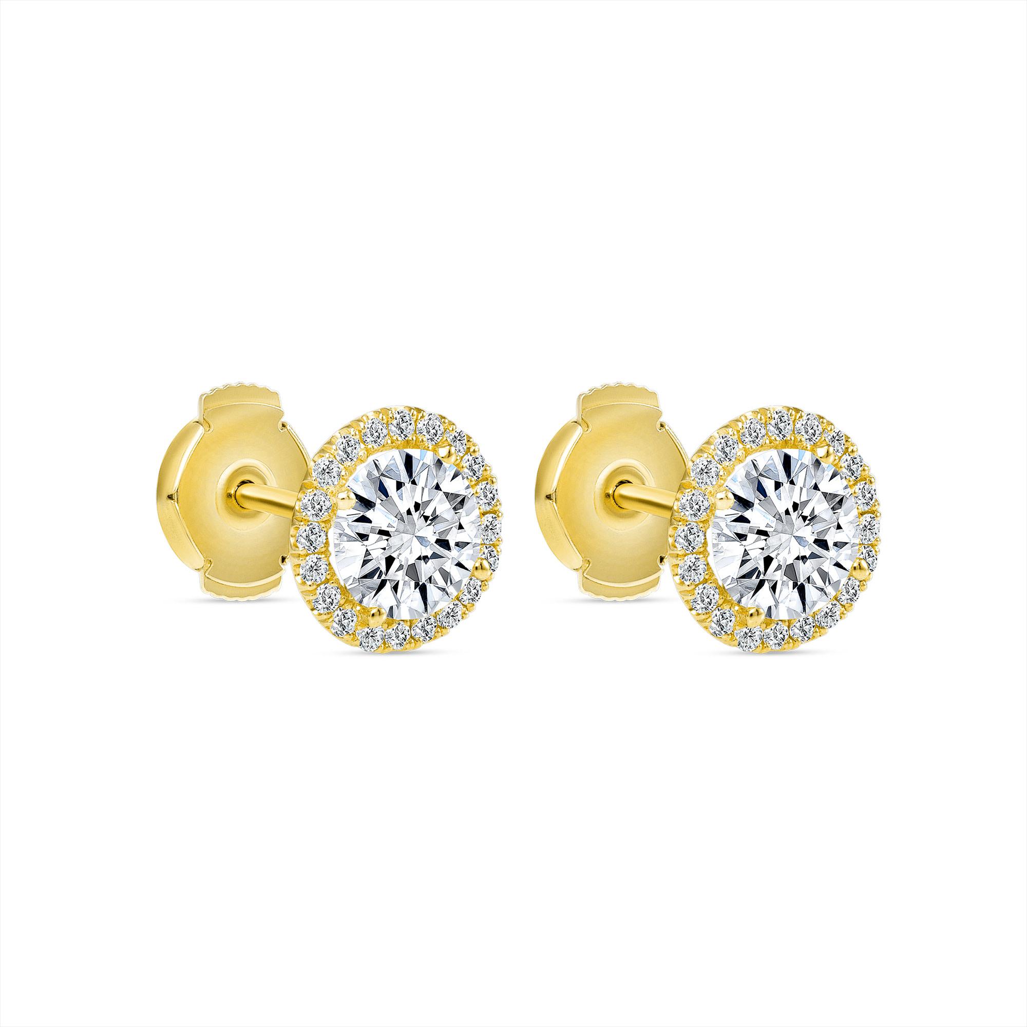 diamond halo stud earrings