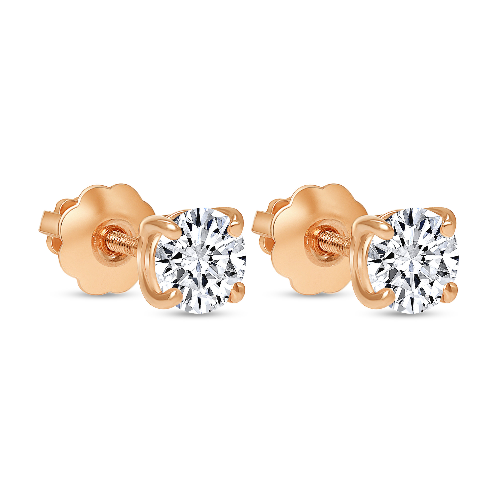 round solitaire diamond stud earrings rose gold
