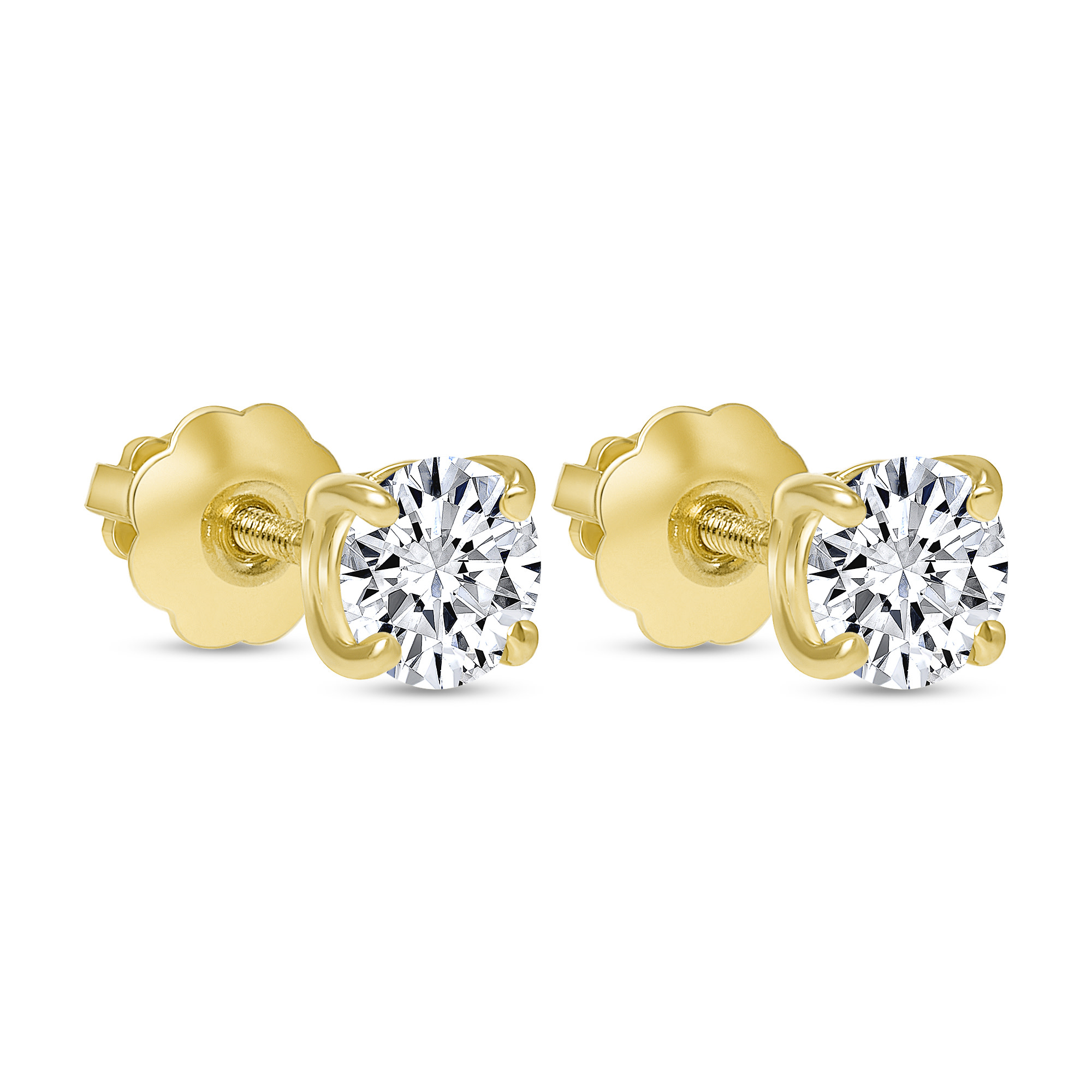 round solitaire diamond stud earrings gold
