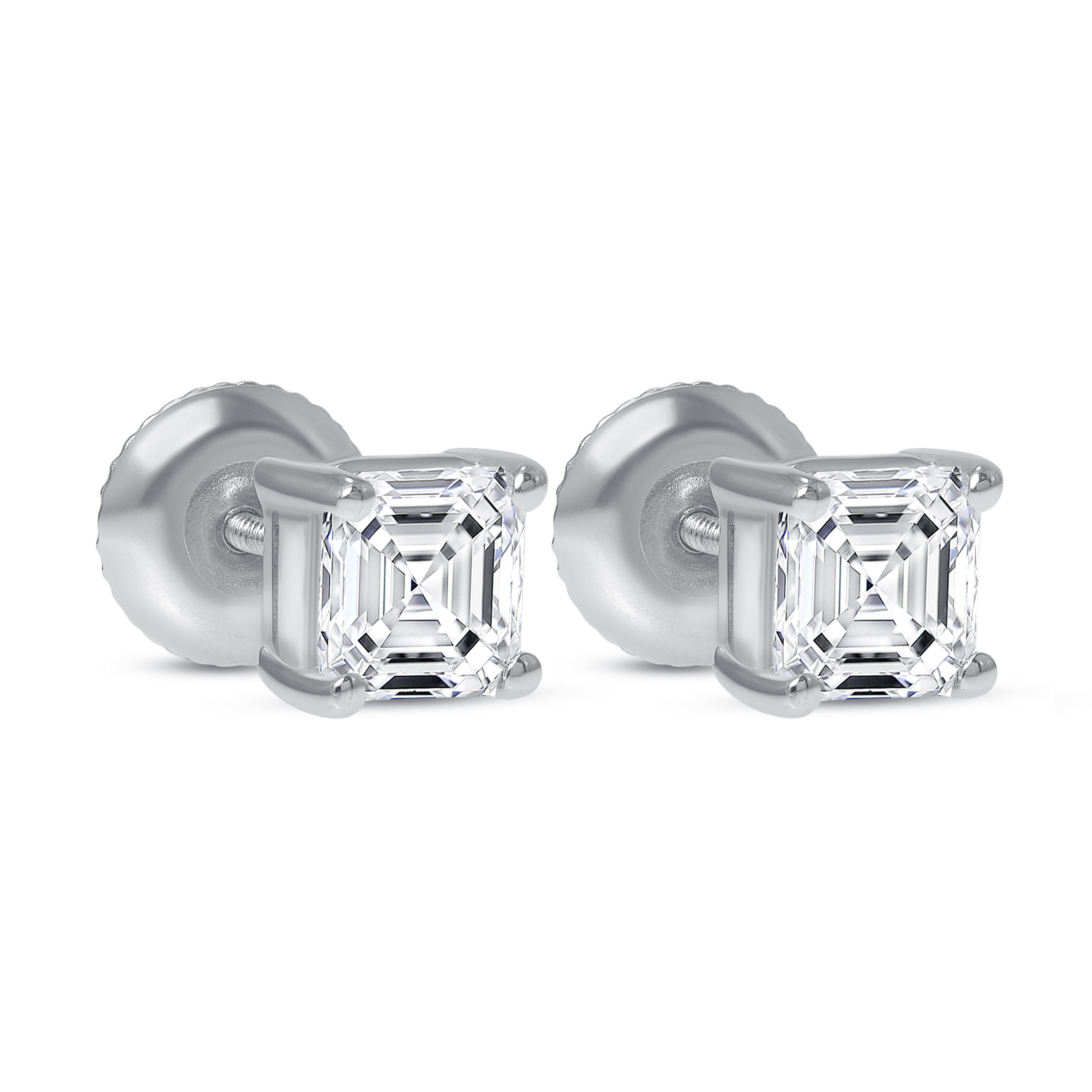 asscher cut diamond stud earrings white gold