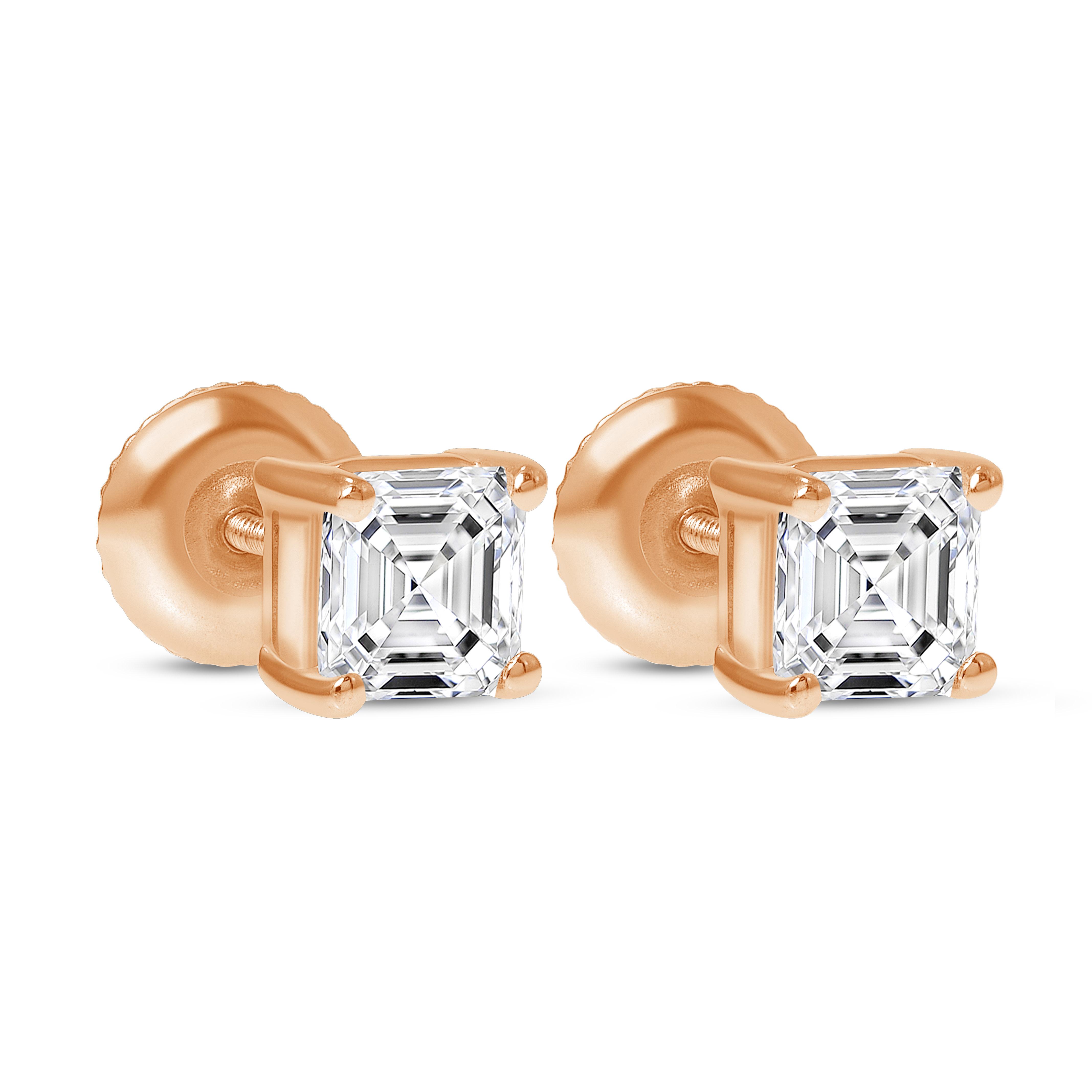asscher cut diamond stud earrings rose gold
