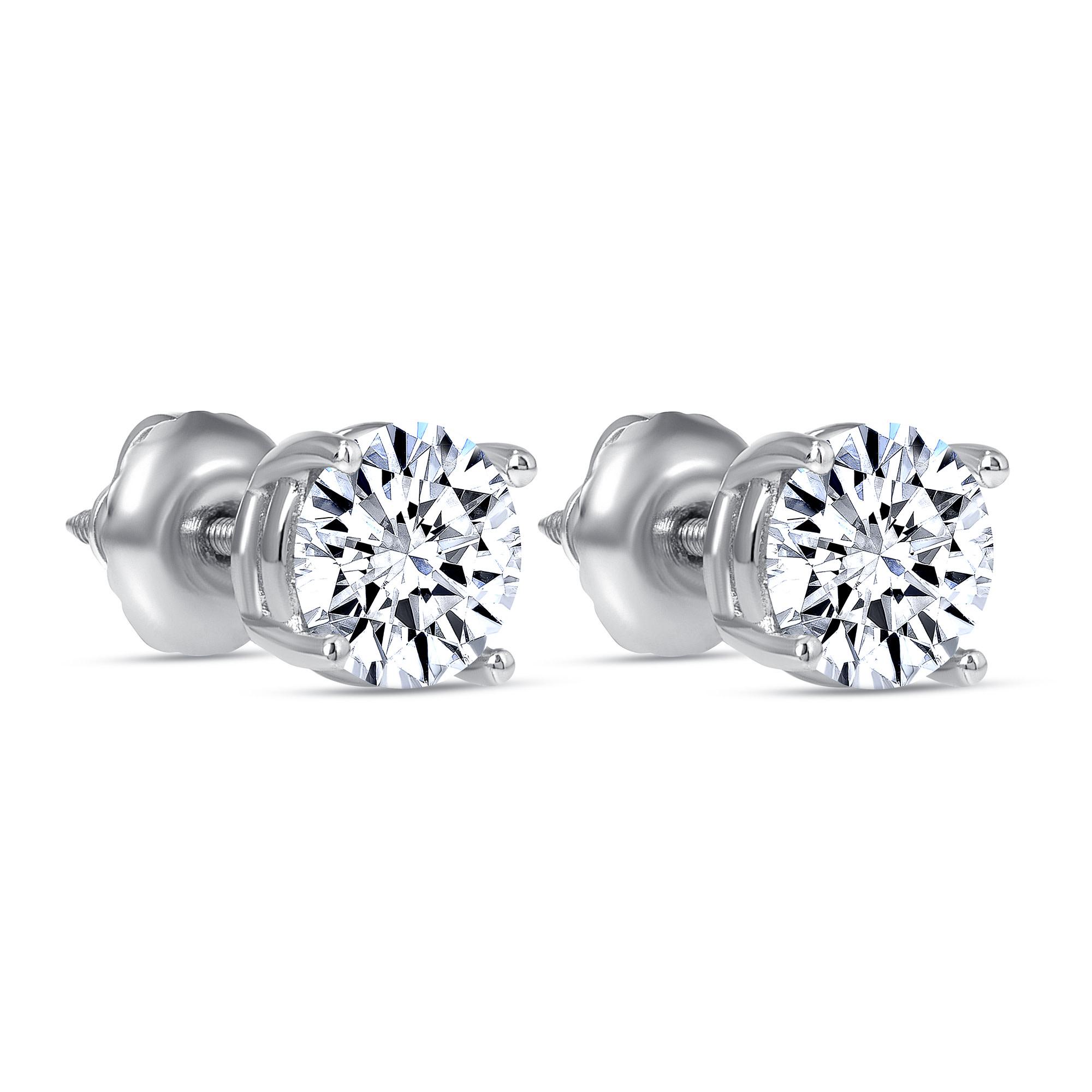 2 carat diamond stud earring white gold