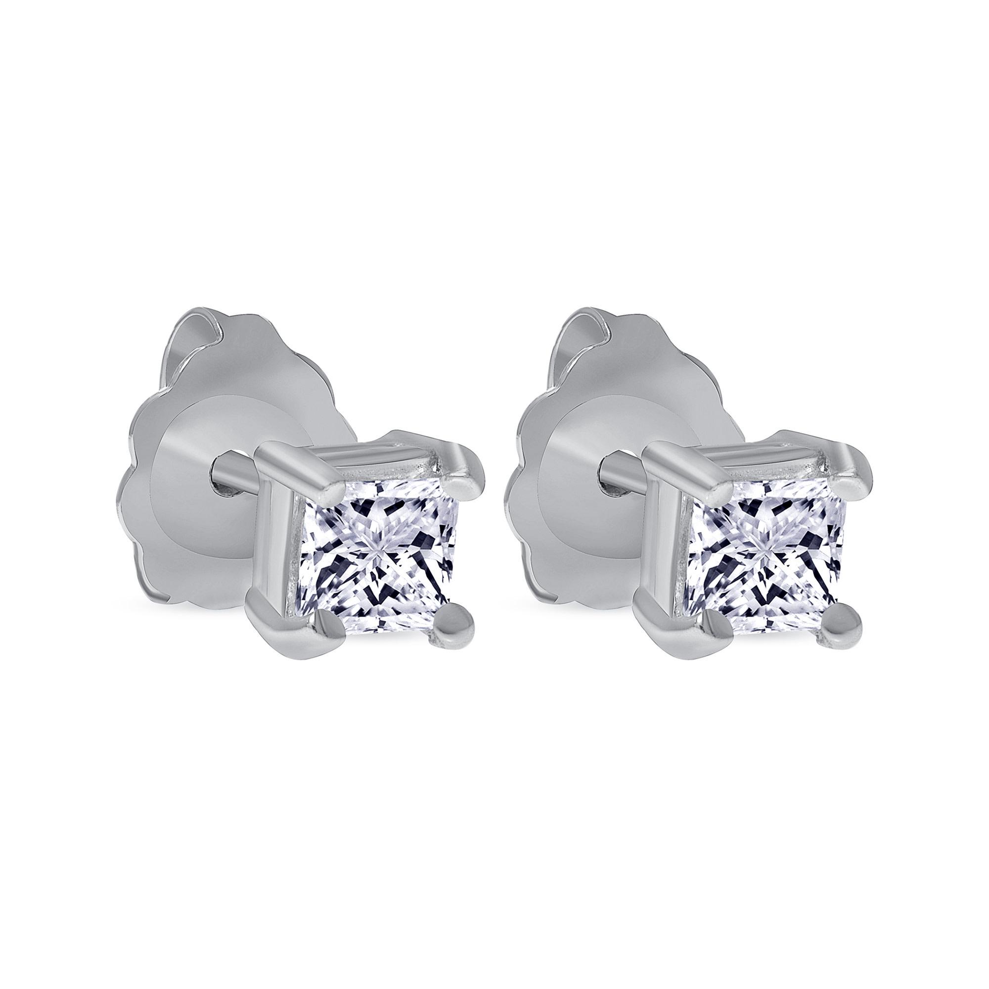 small princess cut diamond earrings white gold