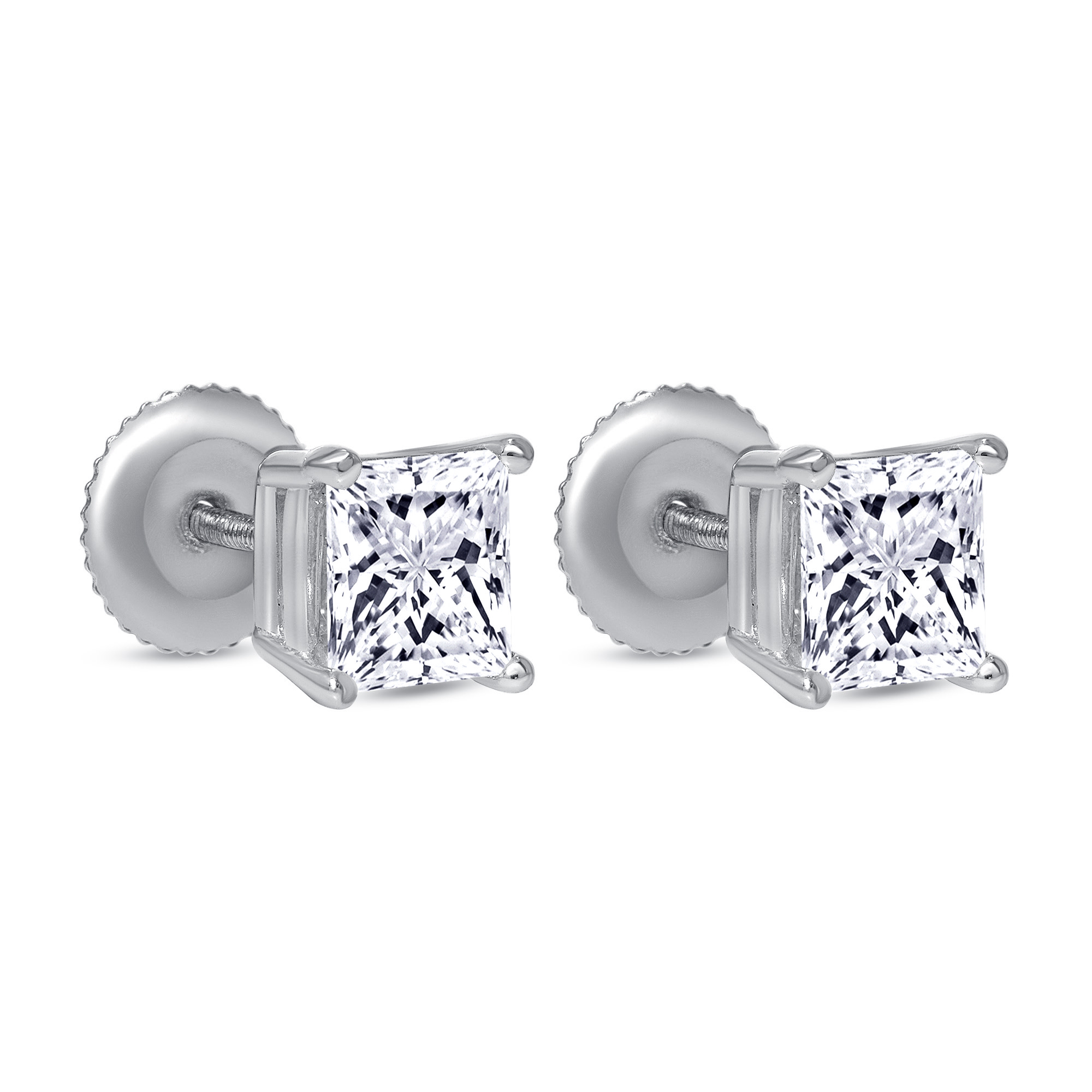 large princess cut diamond stud earrings white gold
