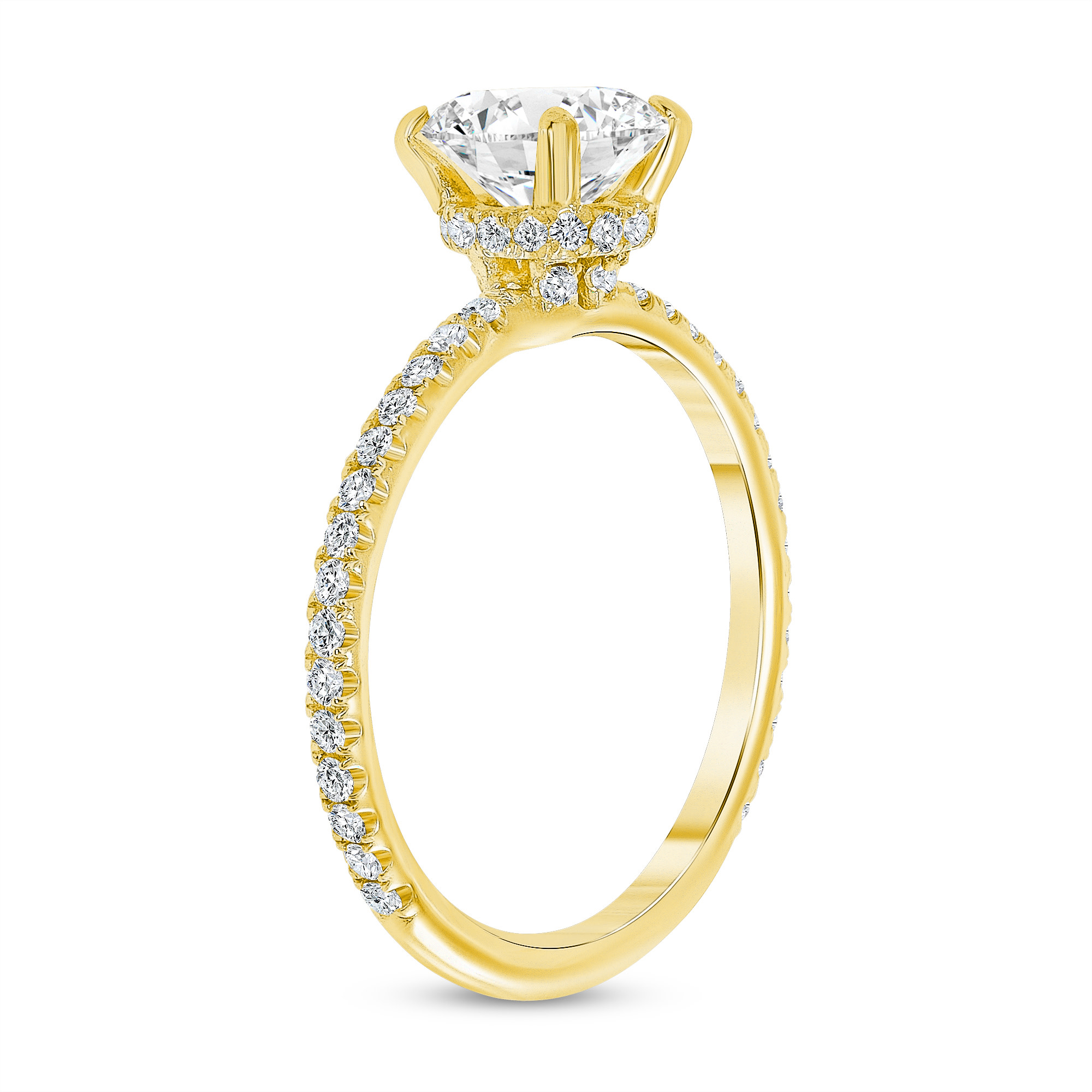 pave diamond engagement ring gold