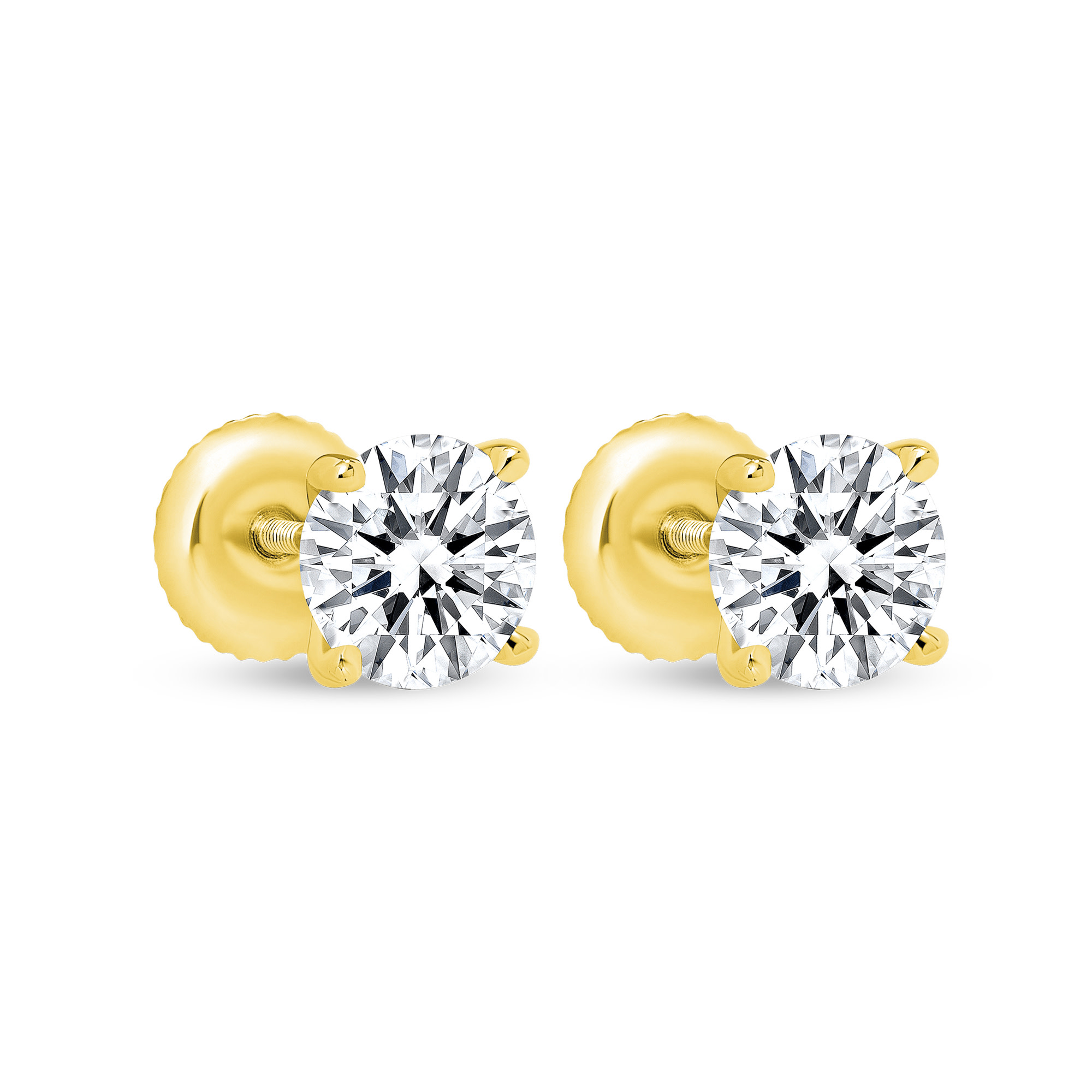 2 carat solitaire diamond earrings | 2 carat round diamond earrings