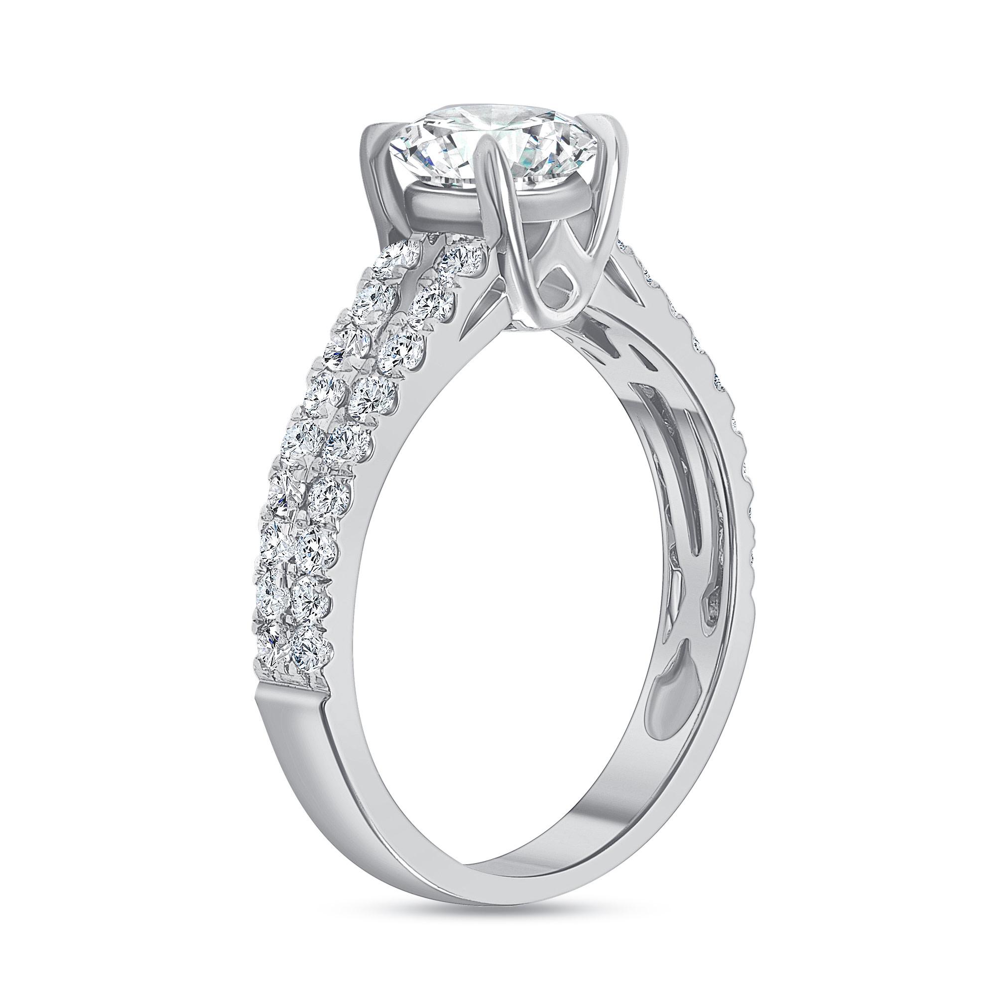 2 row diamond ring white gold