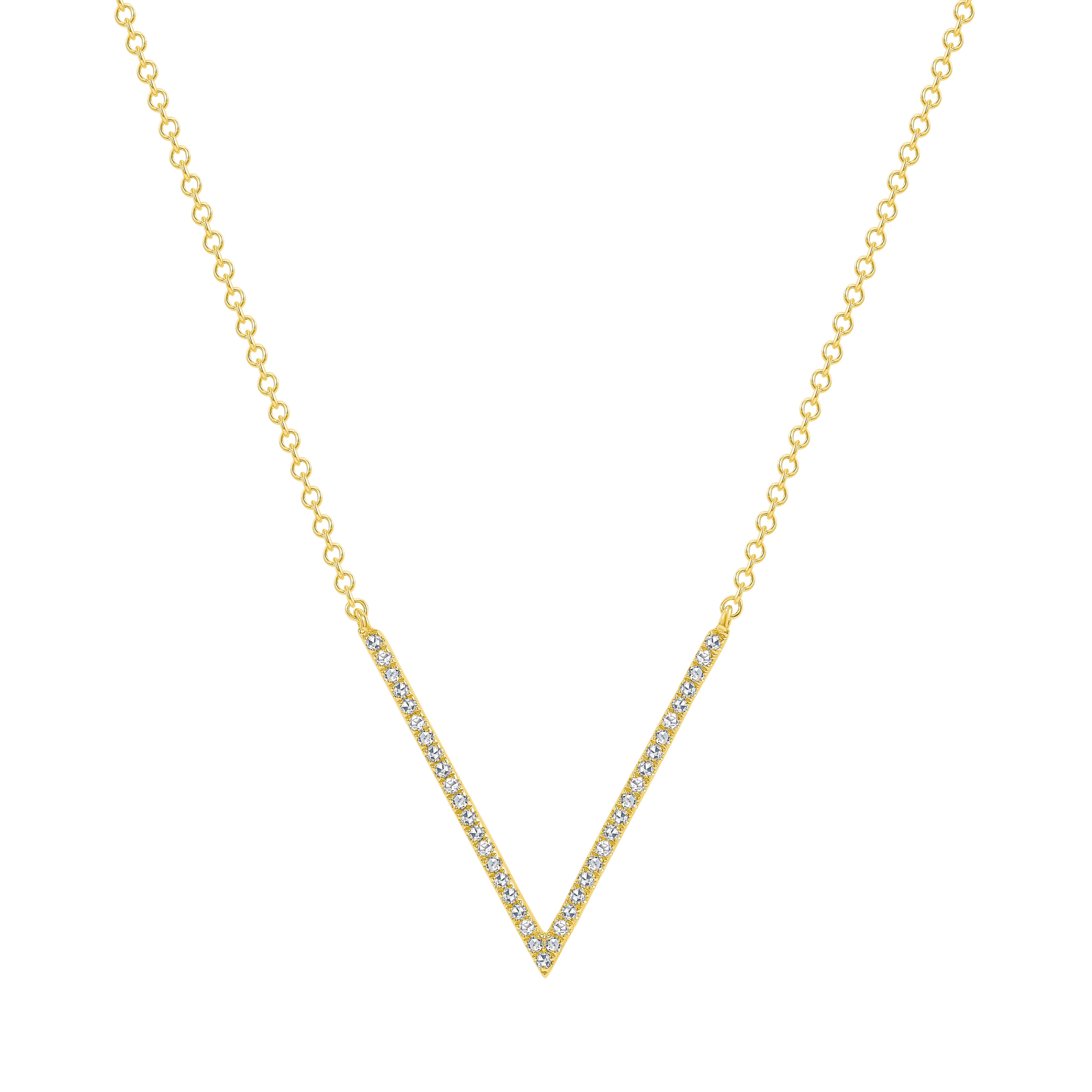 v shaped diamond necklace gold