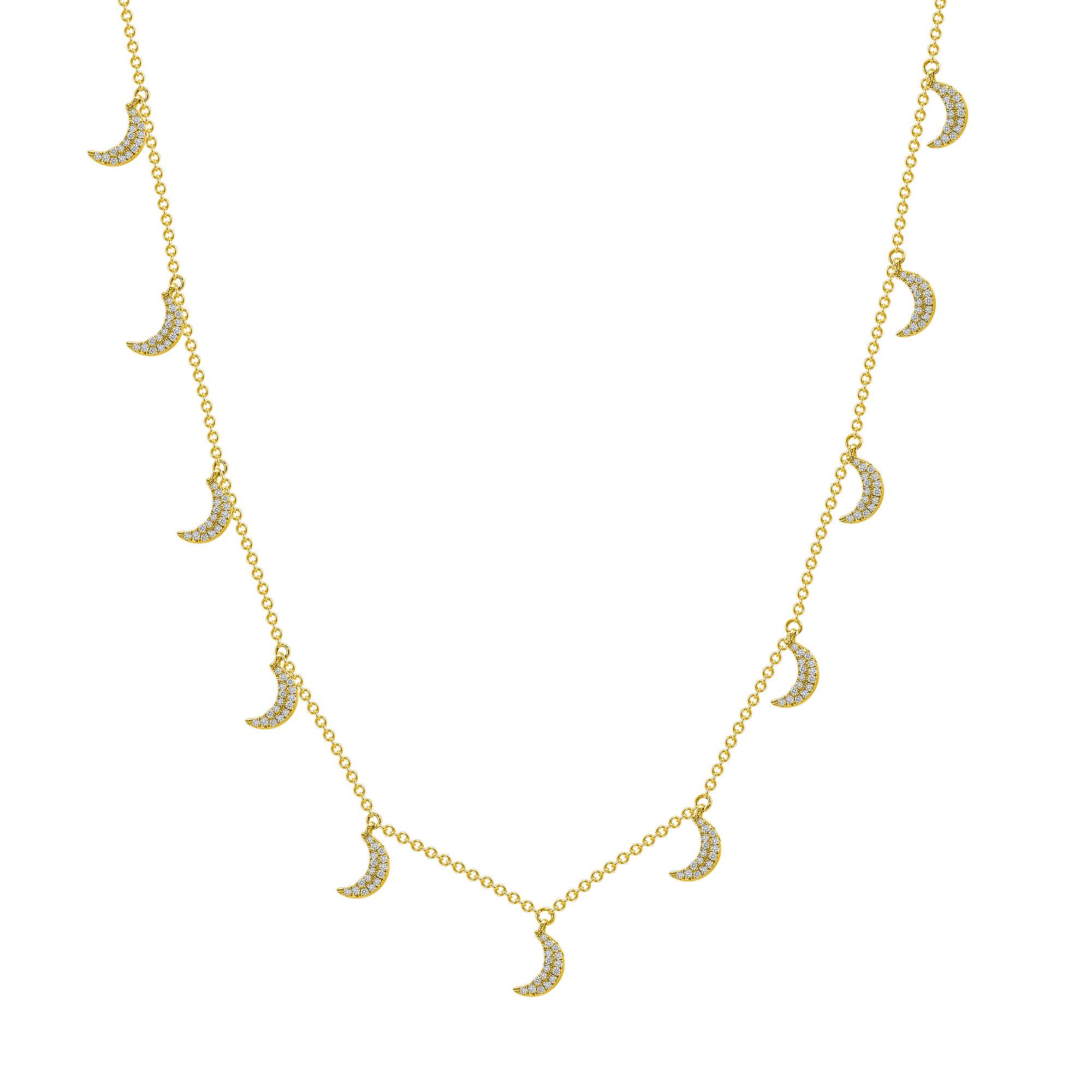 gold diamond crescent moon necklace