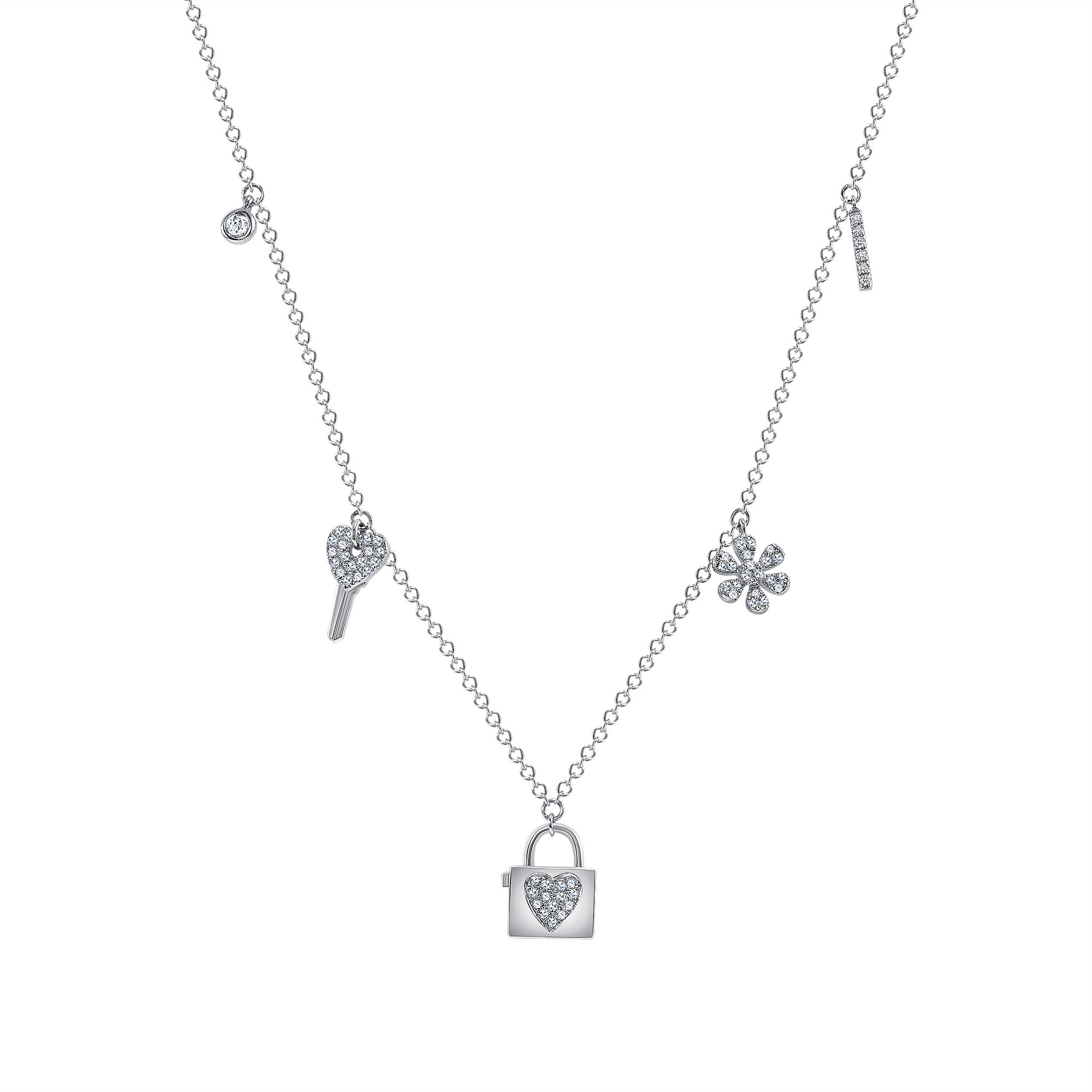 lock and key necklace white gold