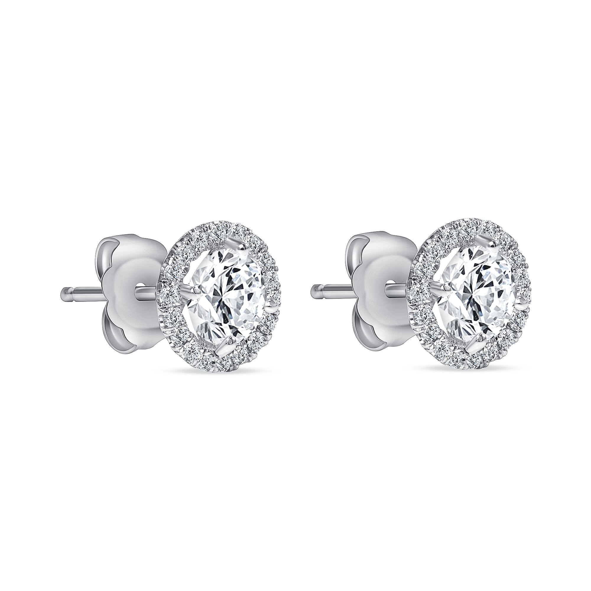 diamond stud white gold earrings with halo