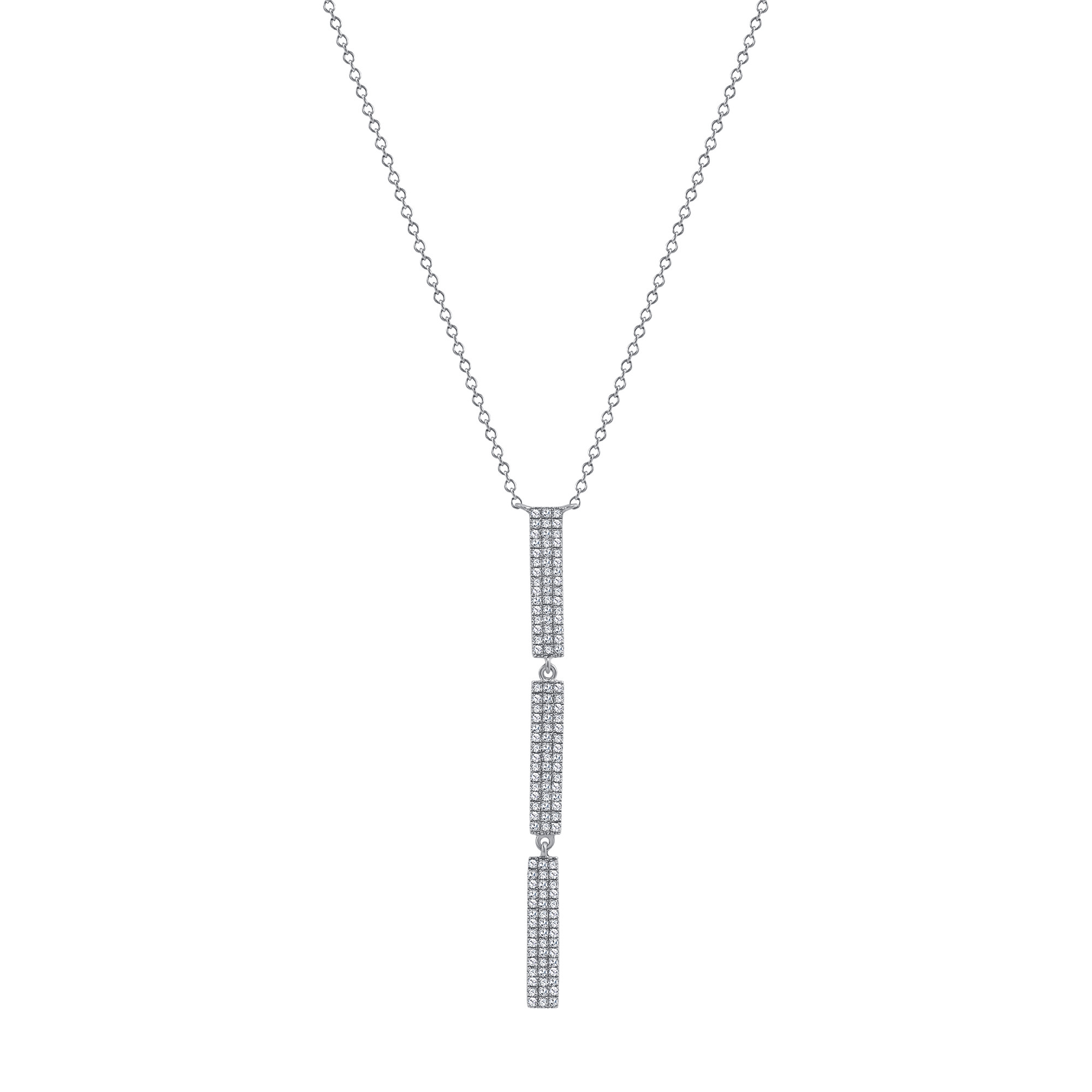 vertical diamond bar pendant necklace with 3 bars white gold