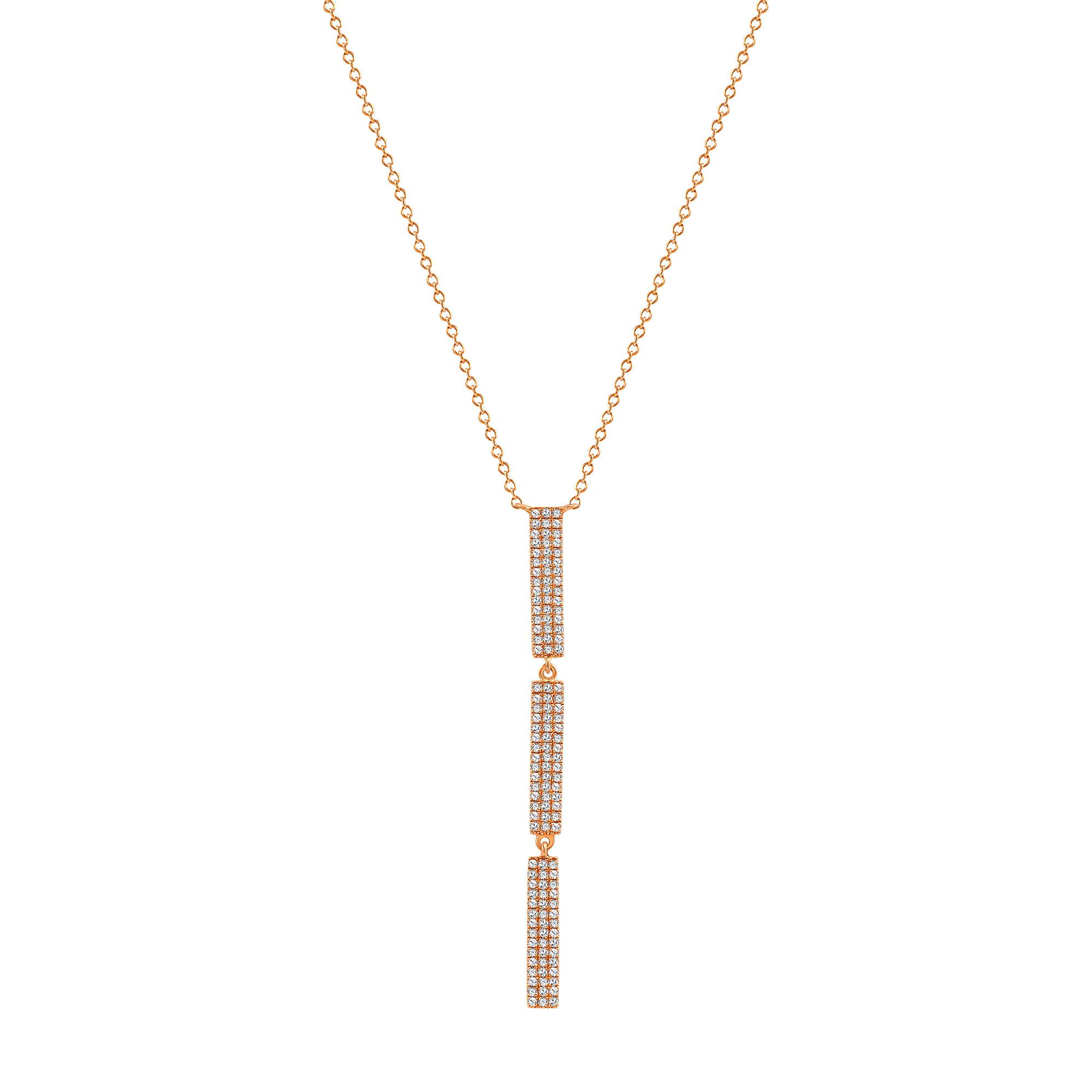vertical diamond bar pendant necklace with 3 bars rose gold