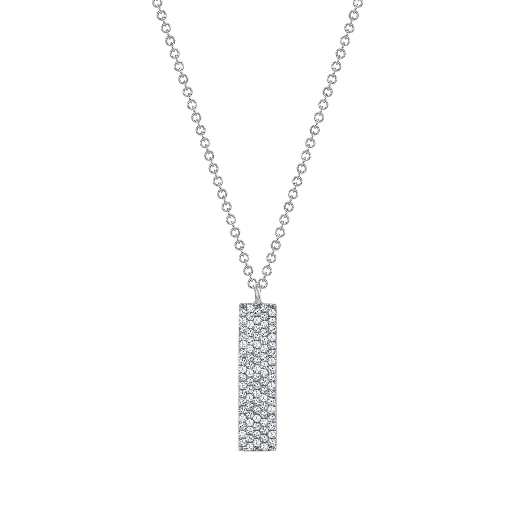 vertical diamond bar pendant necklace rose gold
