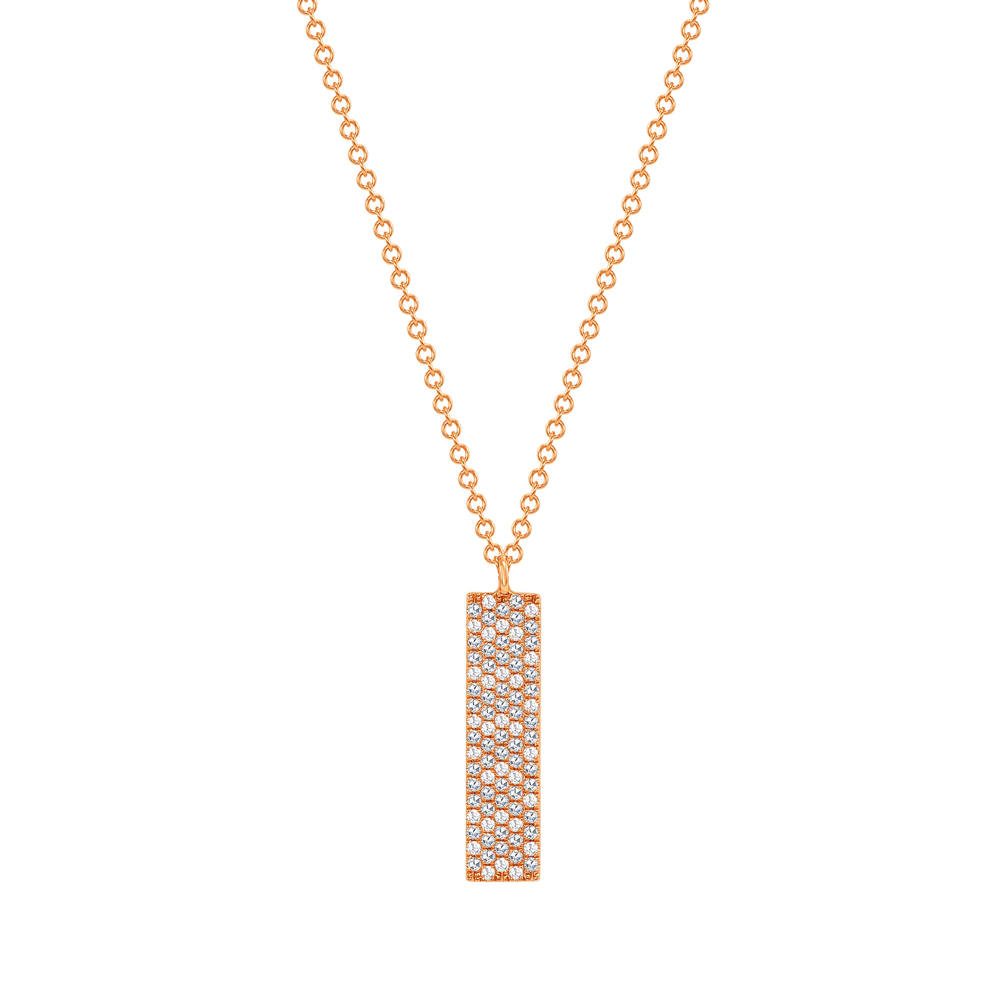 vertical diamond bar pendant necklace | vertical bar necklace