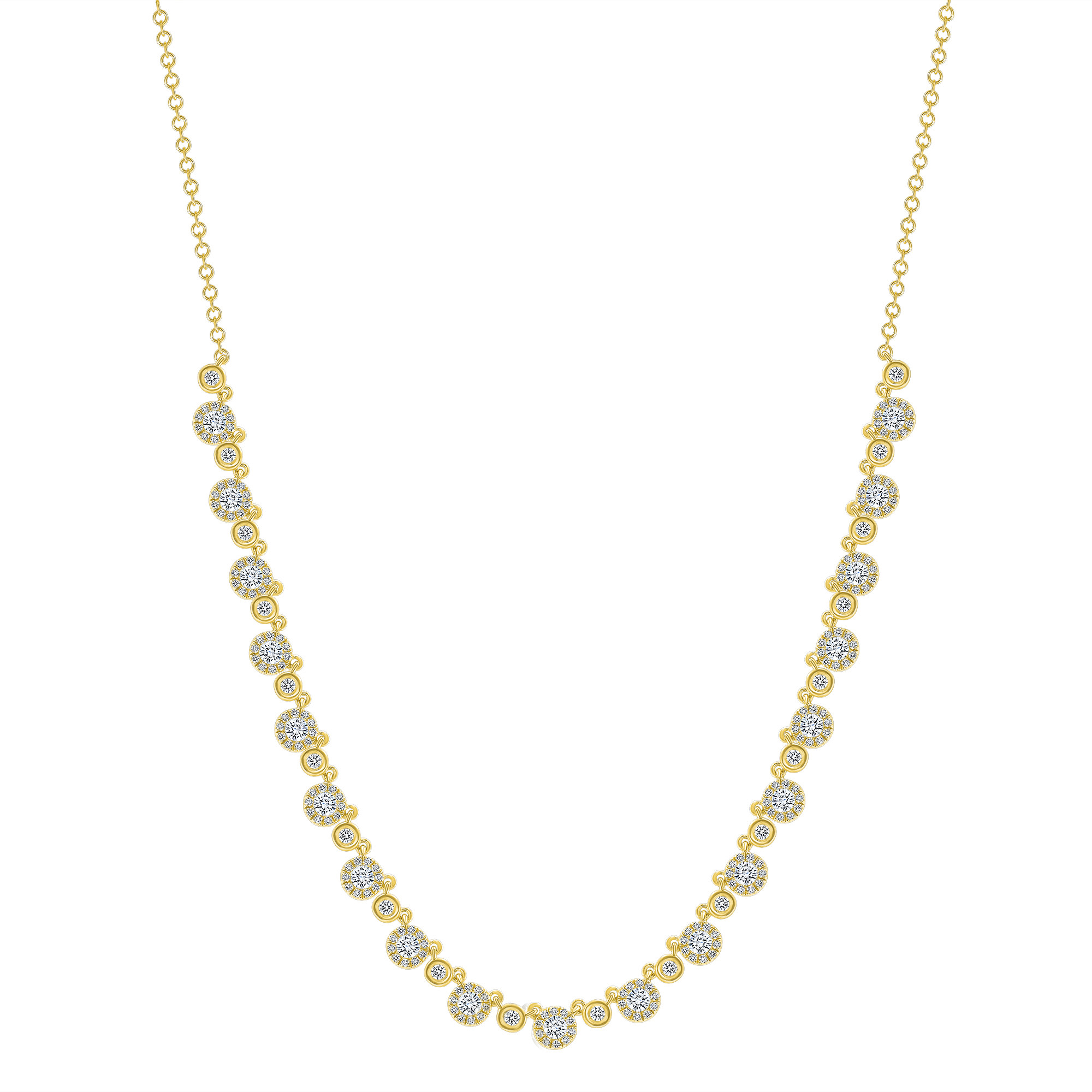 small round diamond necklace gold