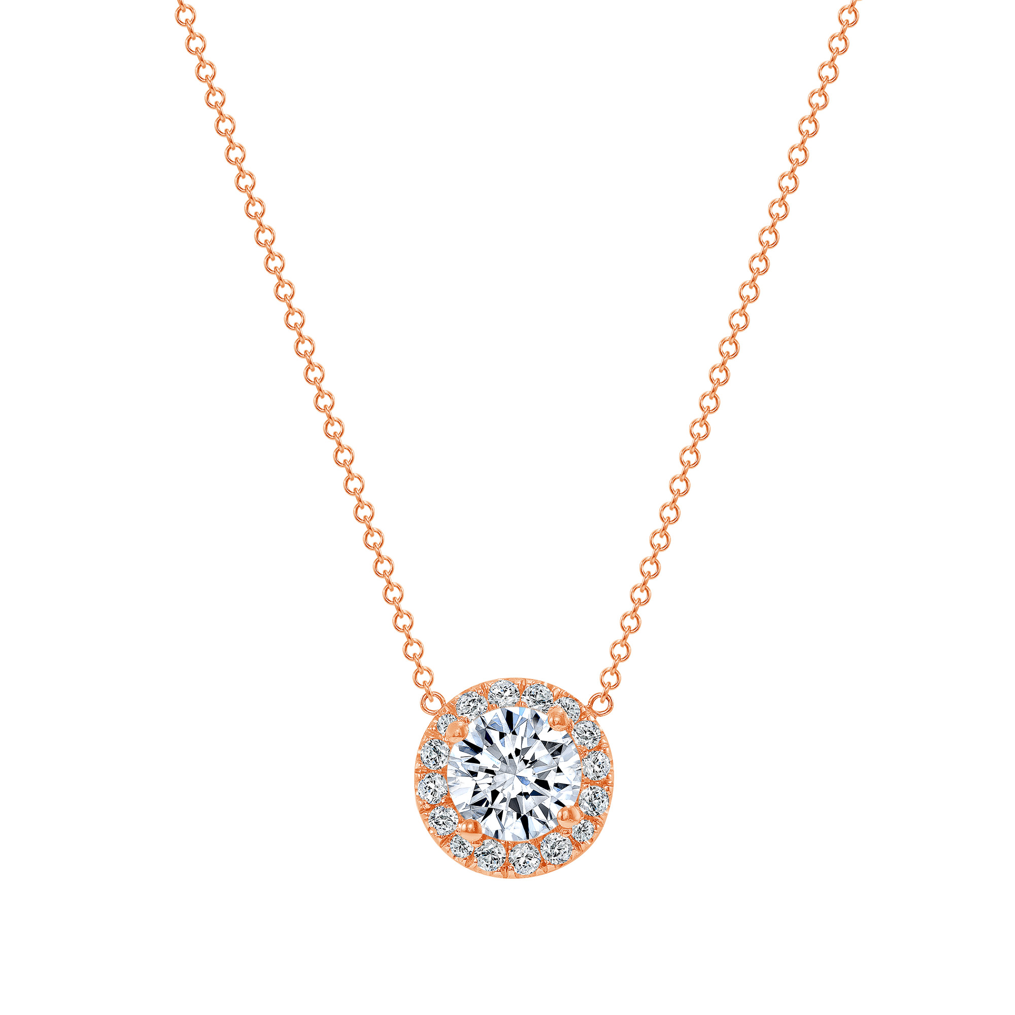 diamond halo pendant necklace | gold round pendant necklace