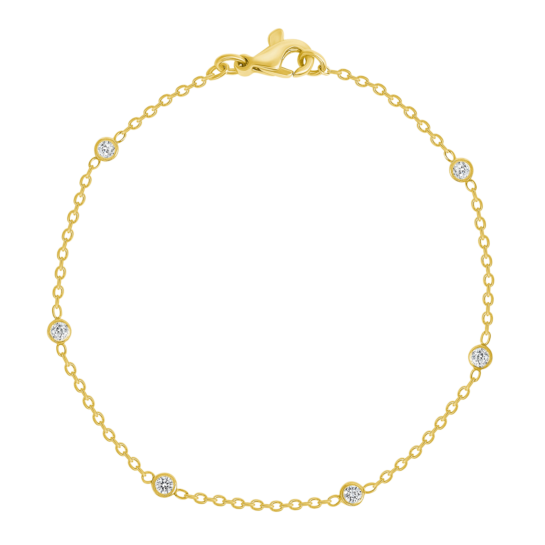 14k gold diamond station ankle bracelet
