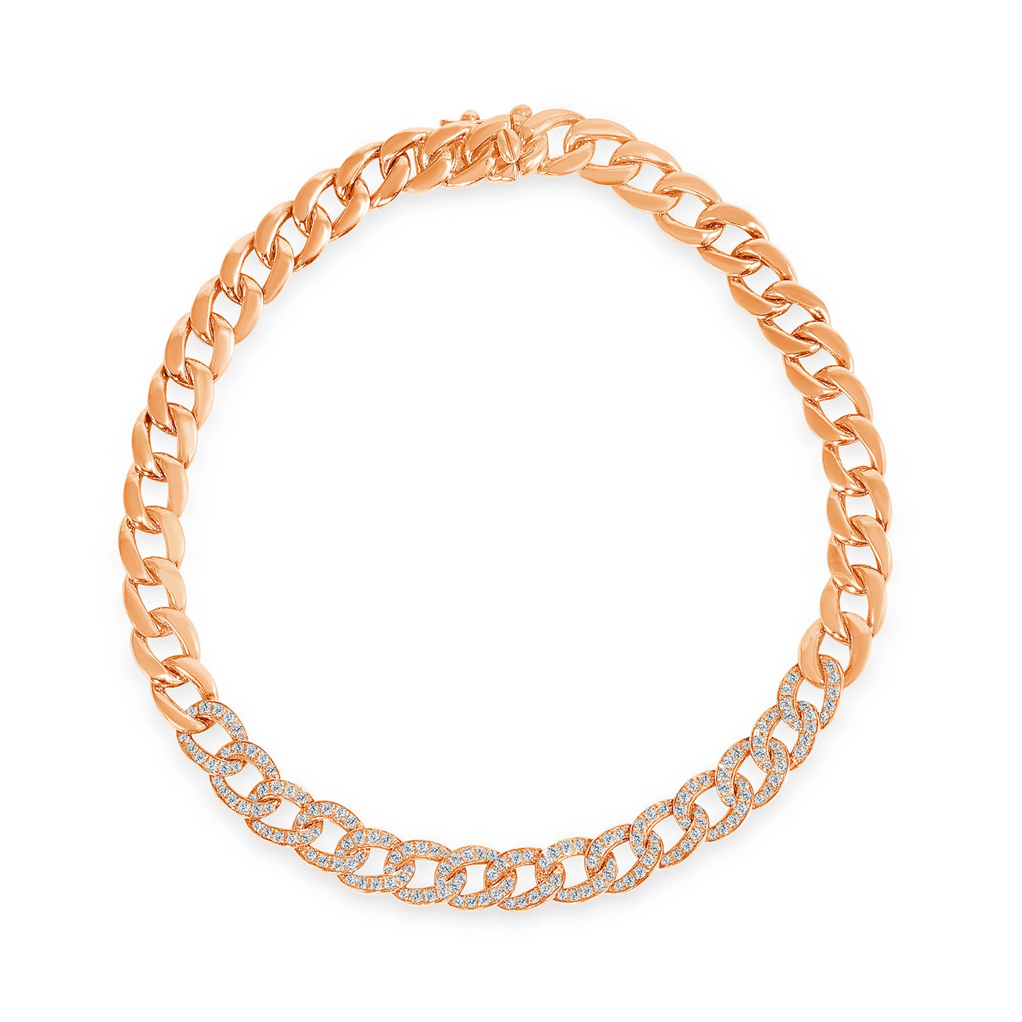 Diamong chain link bracelet rose gold