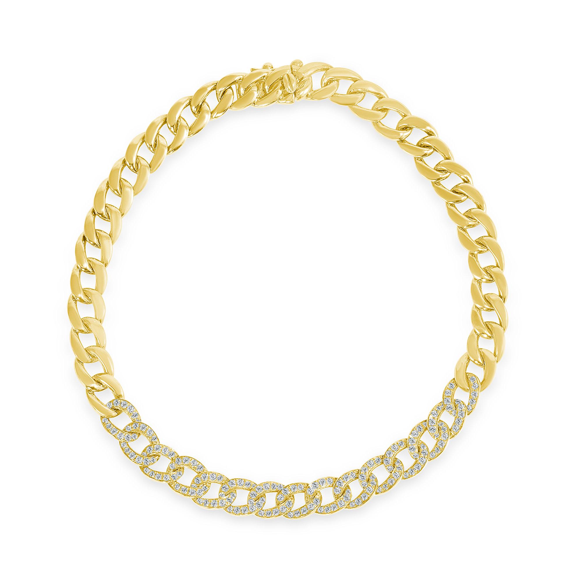 Diamong chain link bracelet gold