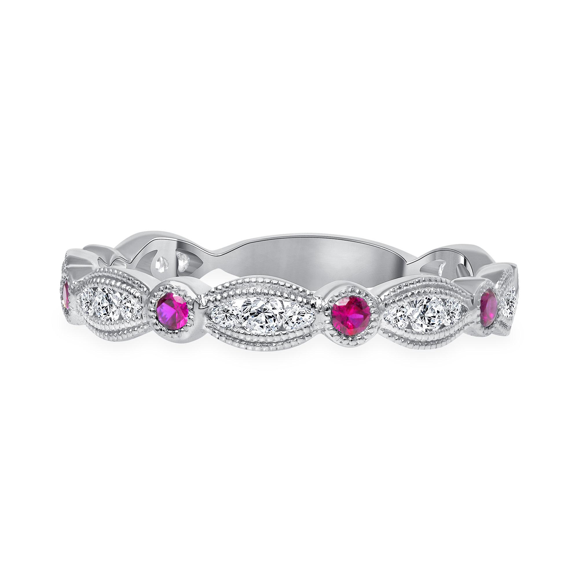 diamond ruby wedding ring white gold