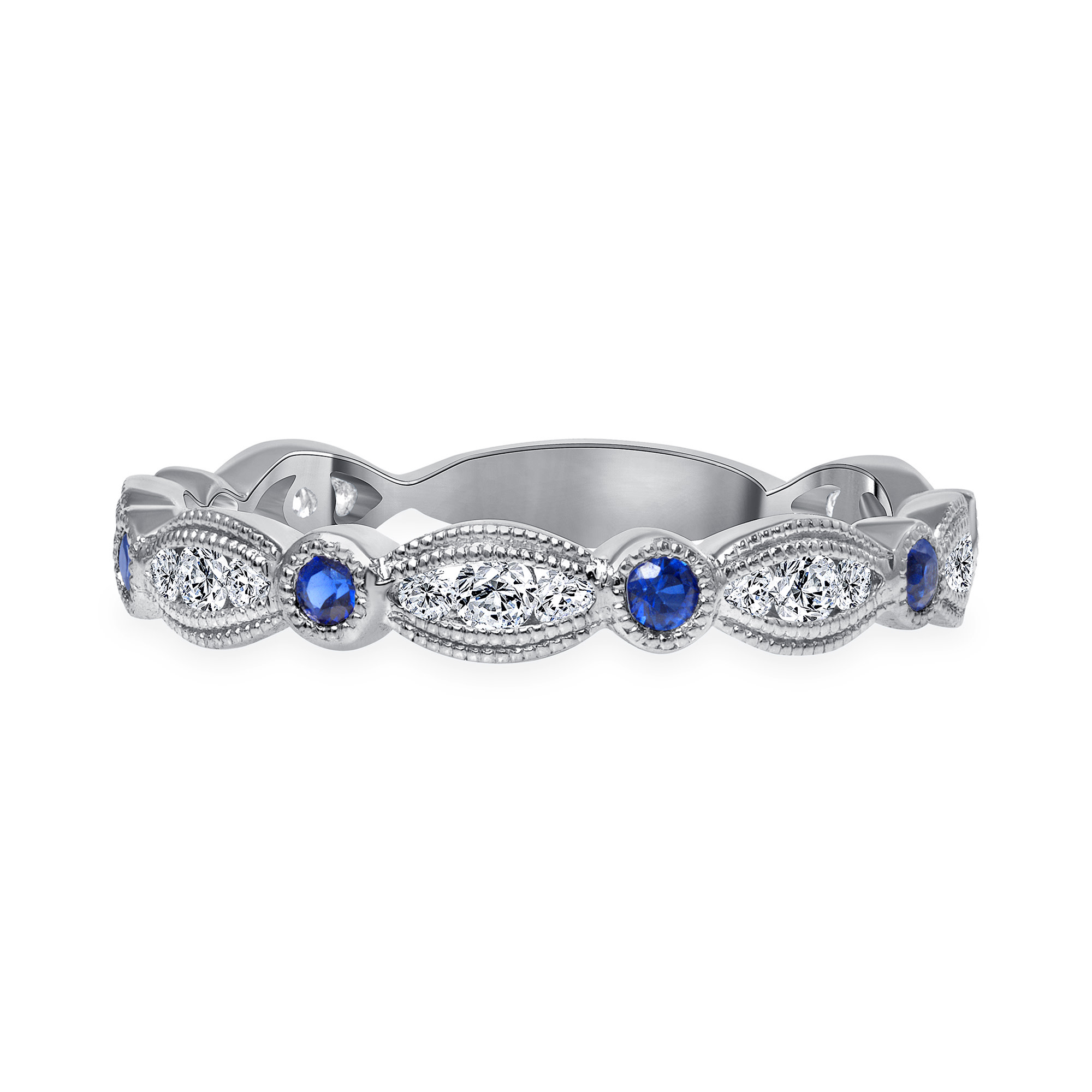 diamond and sapphire wedding ring white gold