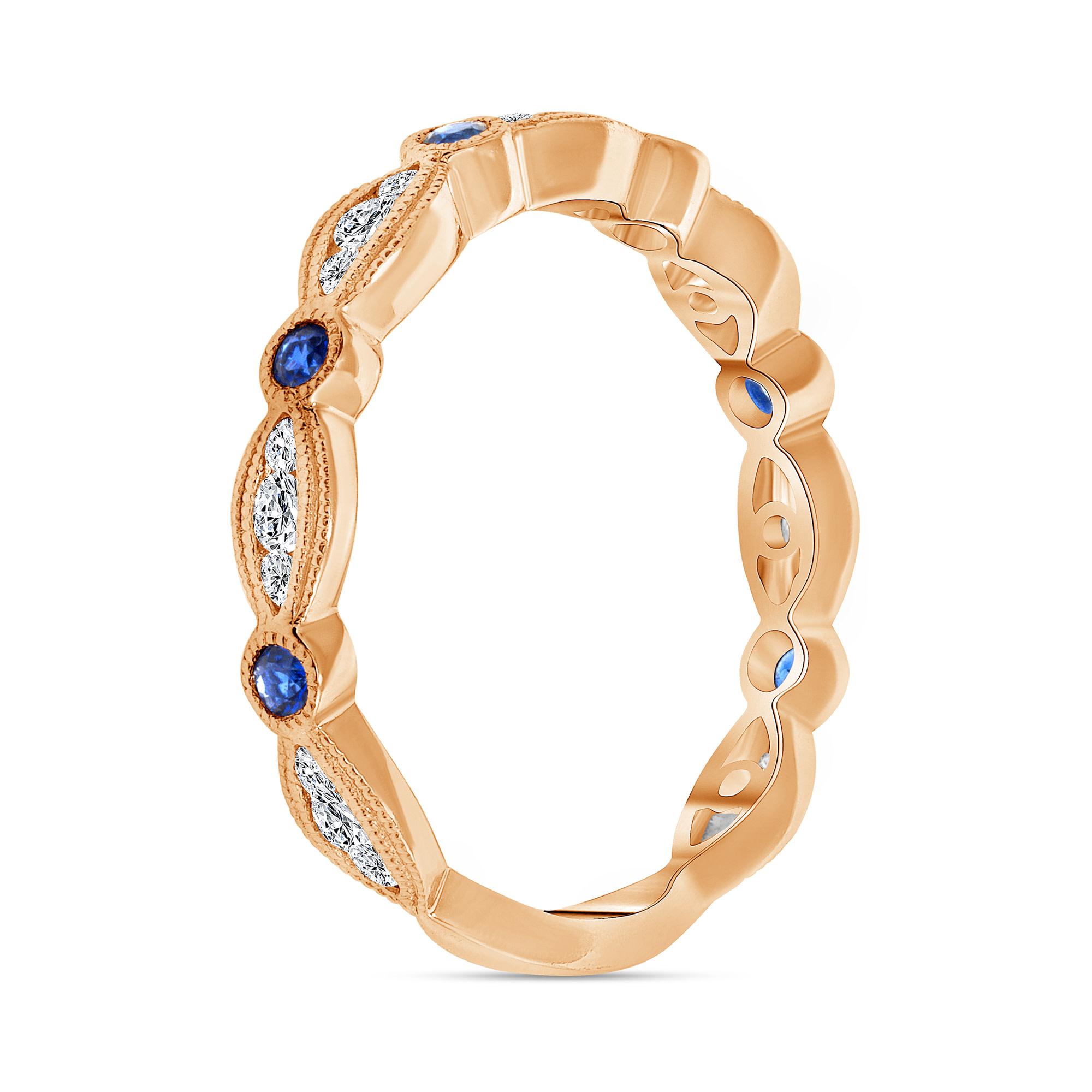 diamond and sapphire wedding ring rose gold