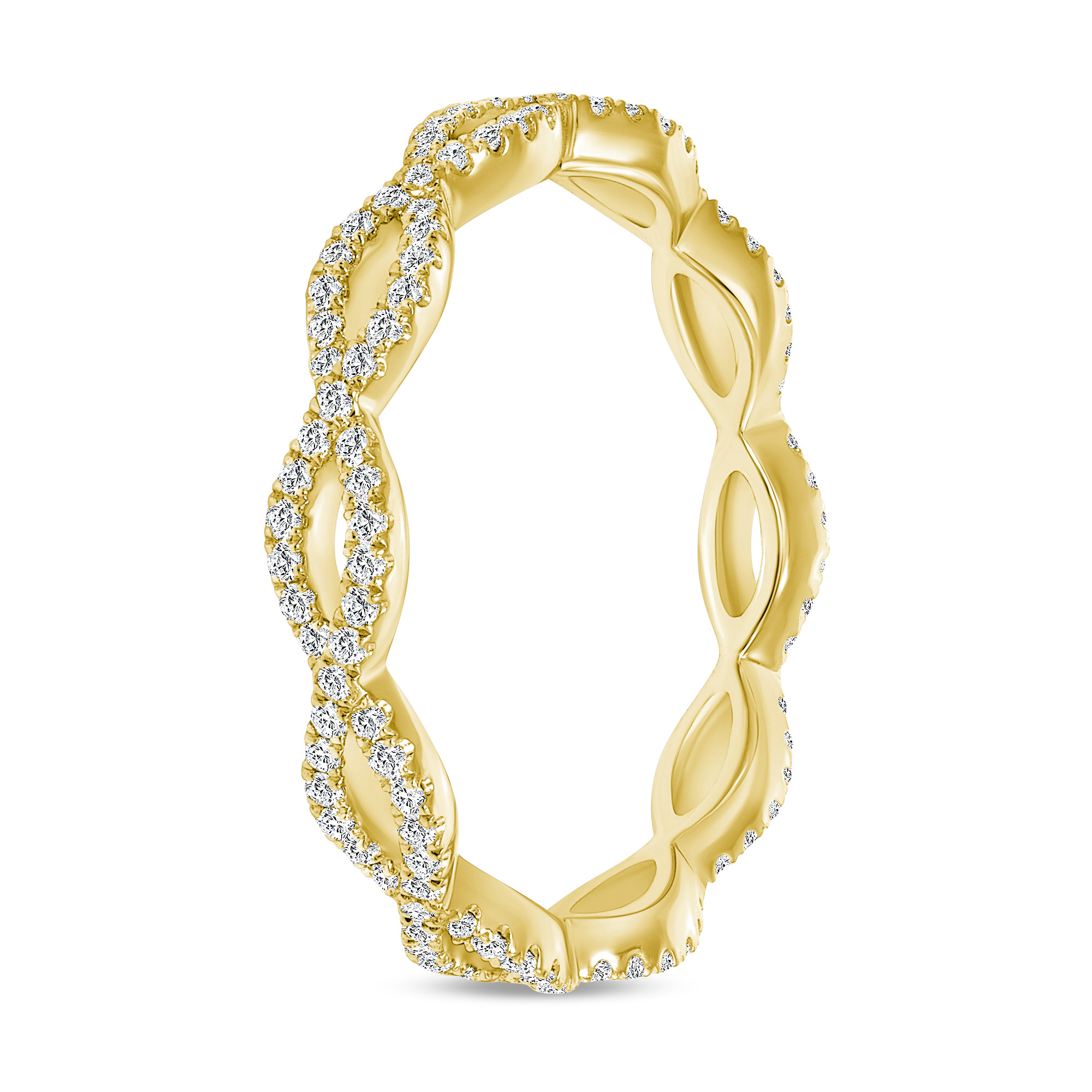 diamond  gold criss cross wedding ring