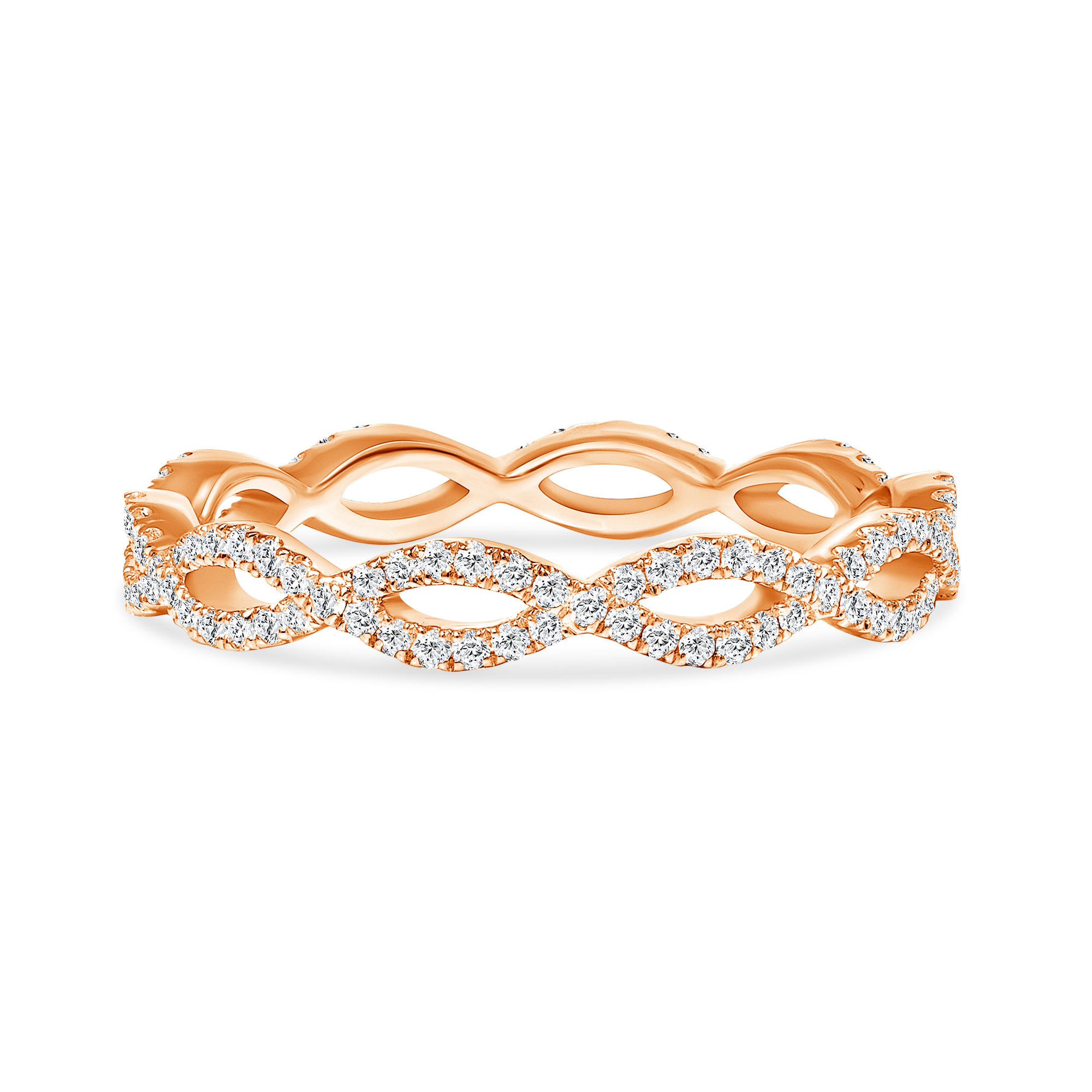 diamond rose gold criss cross wedding ring