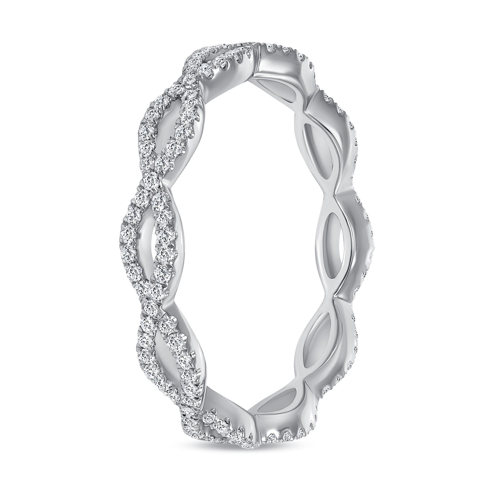 diamond white gold criss cross wedding ring