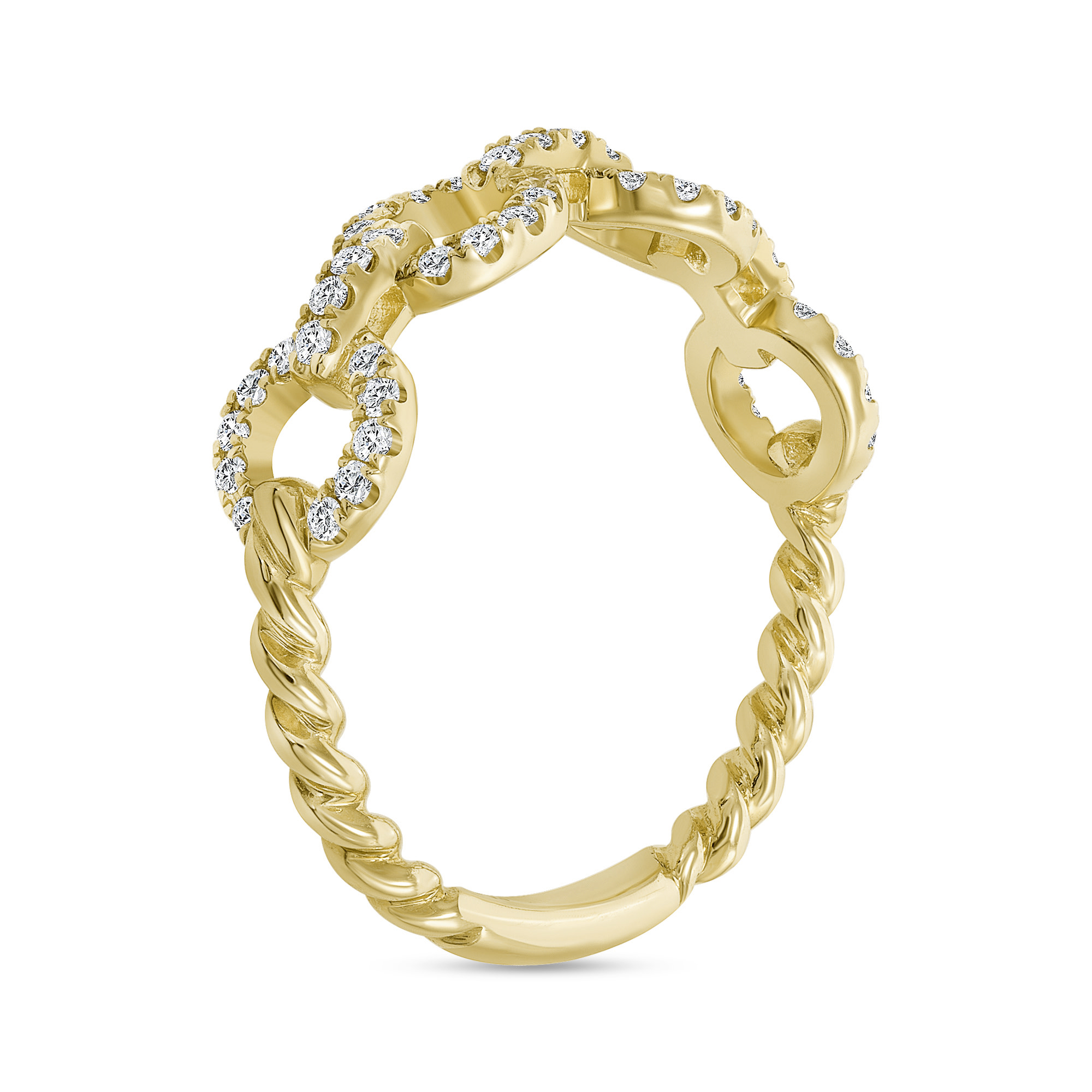 diamond chain link ring gold