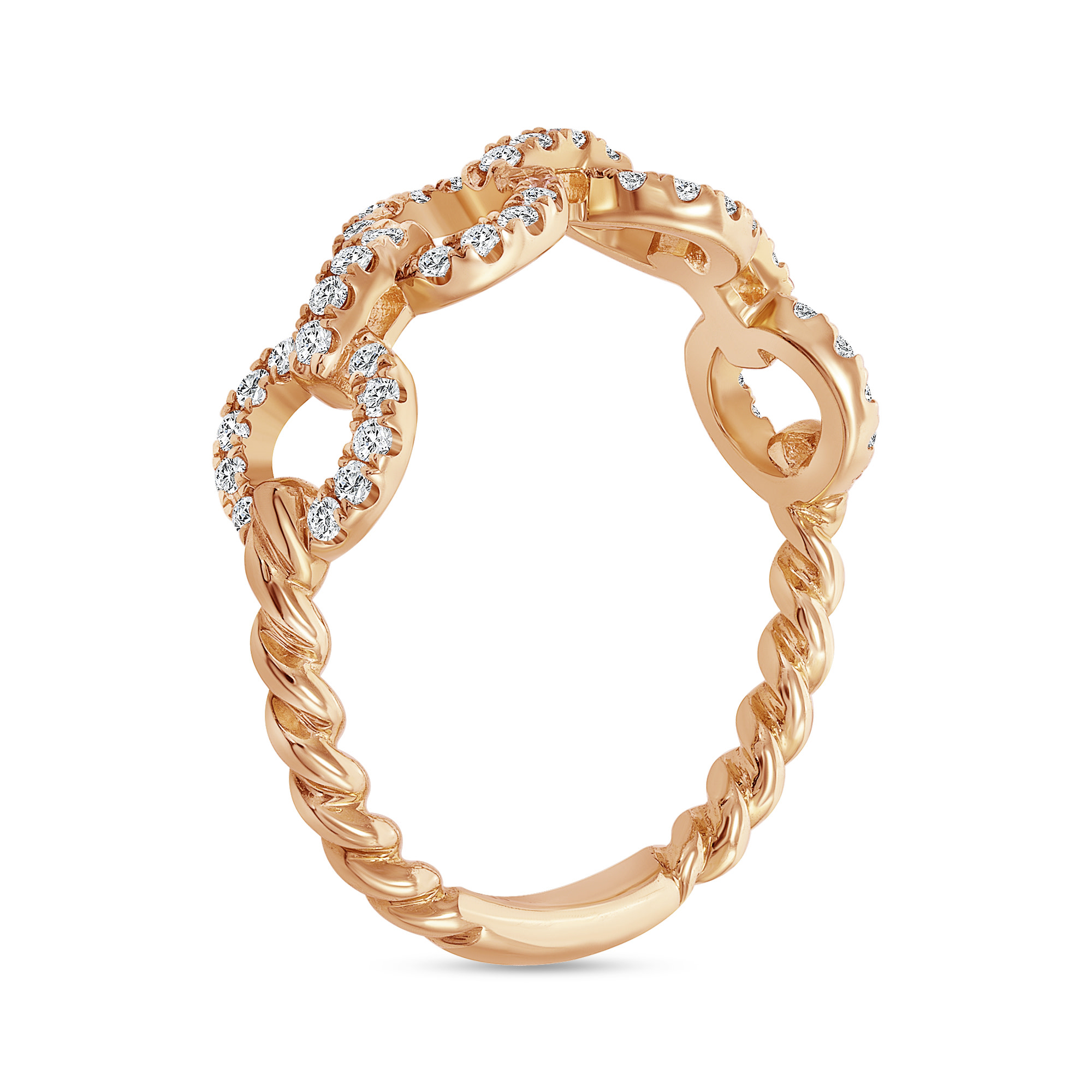 diamond chain link ring rose gold