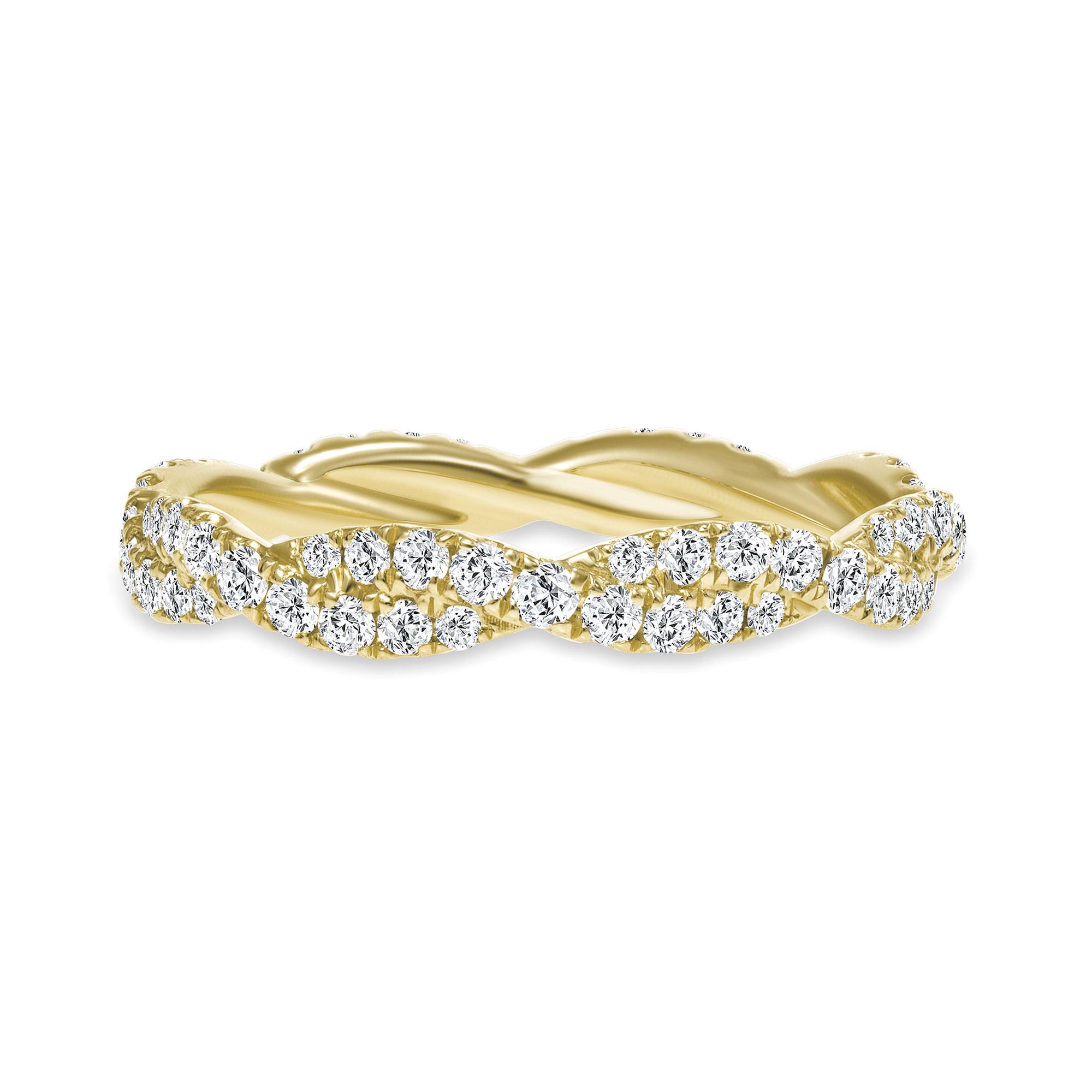 wavy diamond wedding ring gold