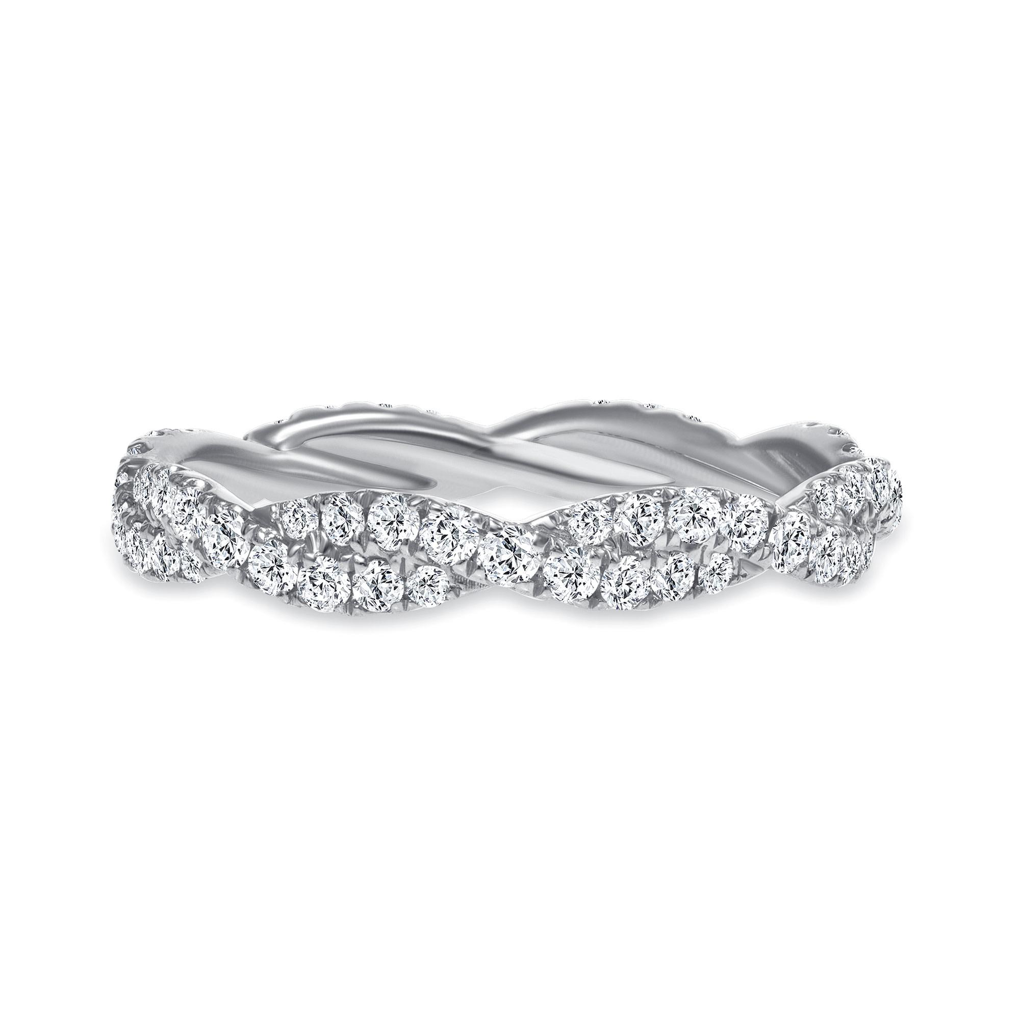 wavy diamond wedding ring white gold