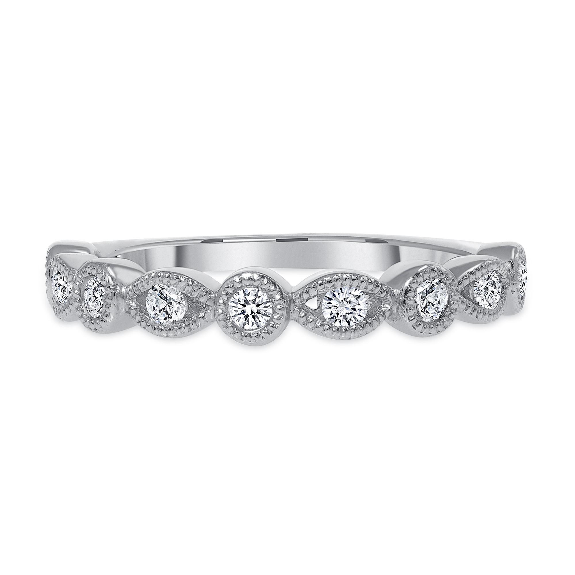 Half round wedding band white gold   Diamond Collection Inc
