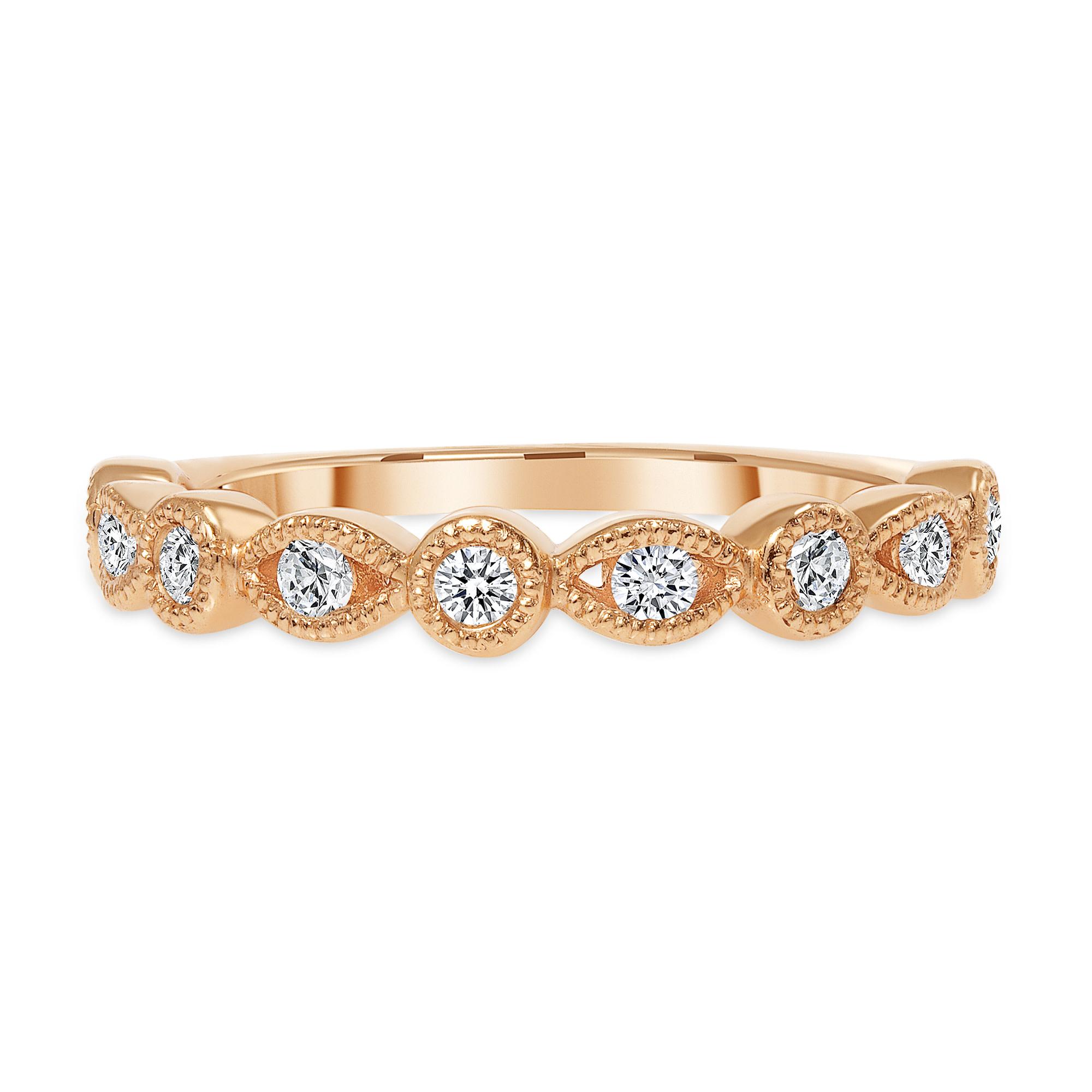 Half round wedding band rose gold   Diamond Collection Inc