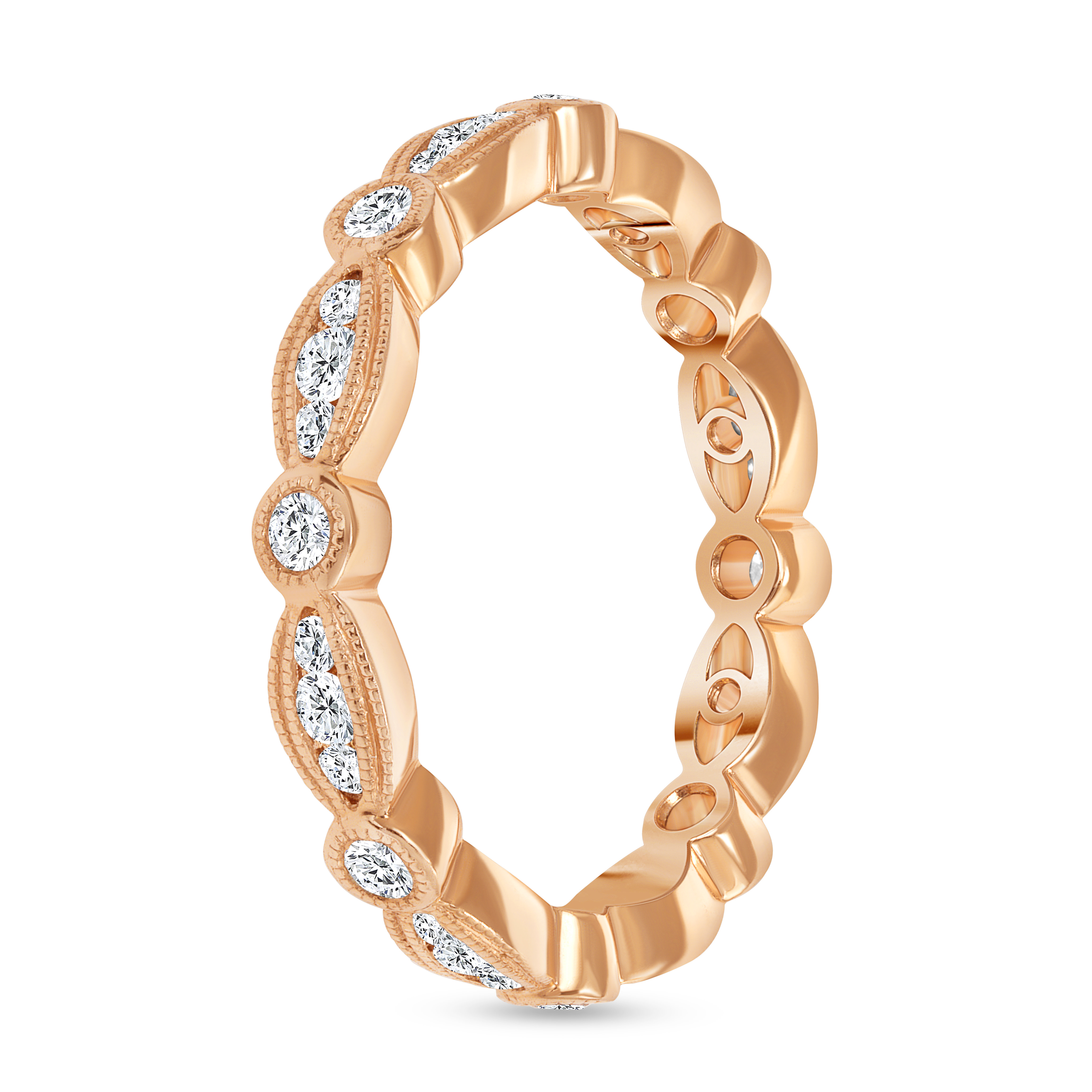 antique diamond wedding ring rose gold